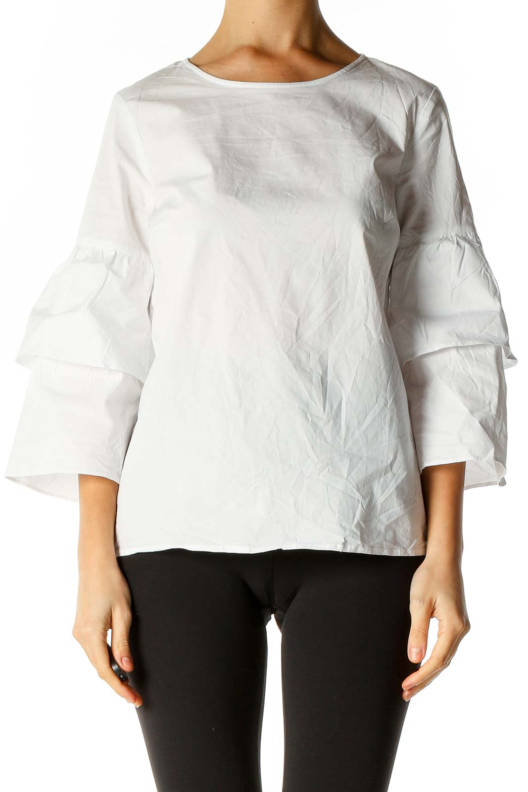 White Solid Retro Blouse Front