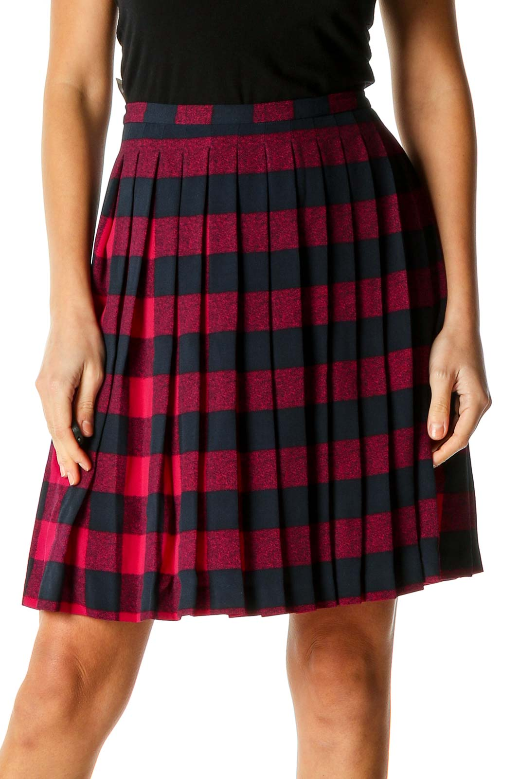 Red Printed All Day Wear Pleated Skirt Front