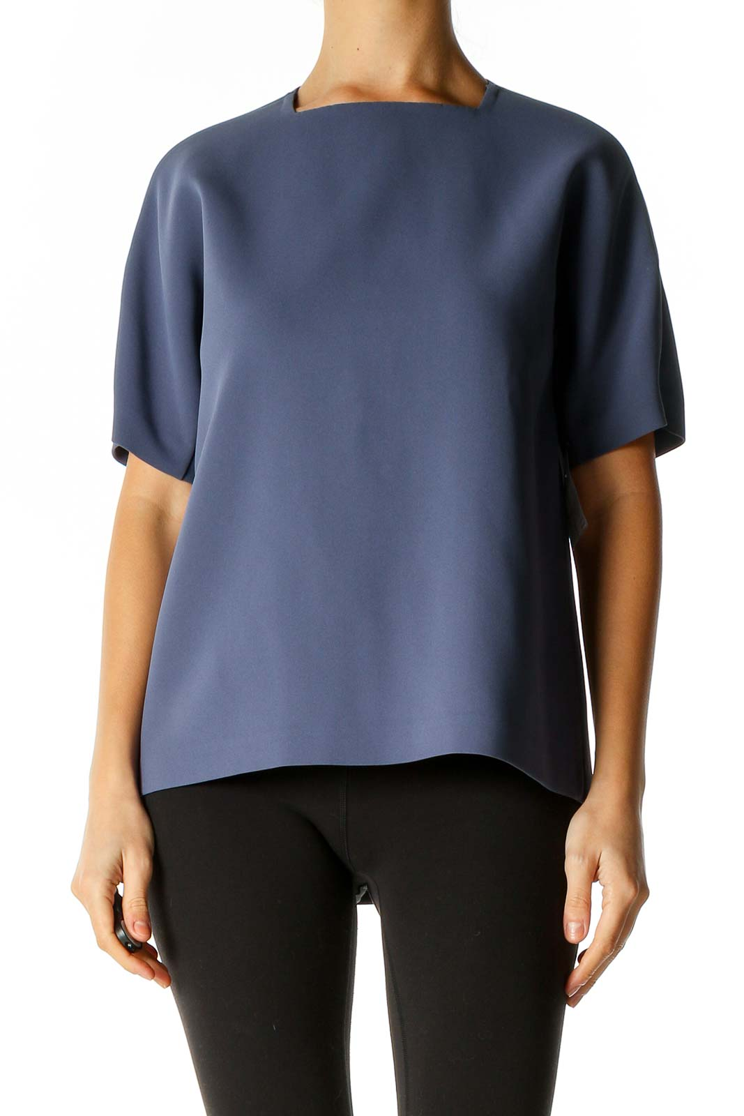 Blue Solid Casual T-Shirt Front