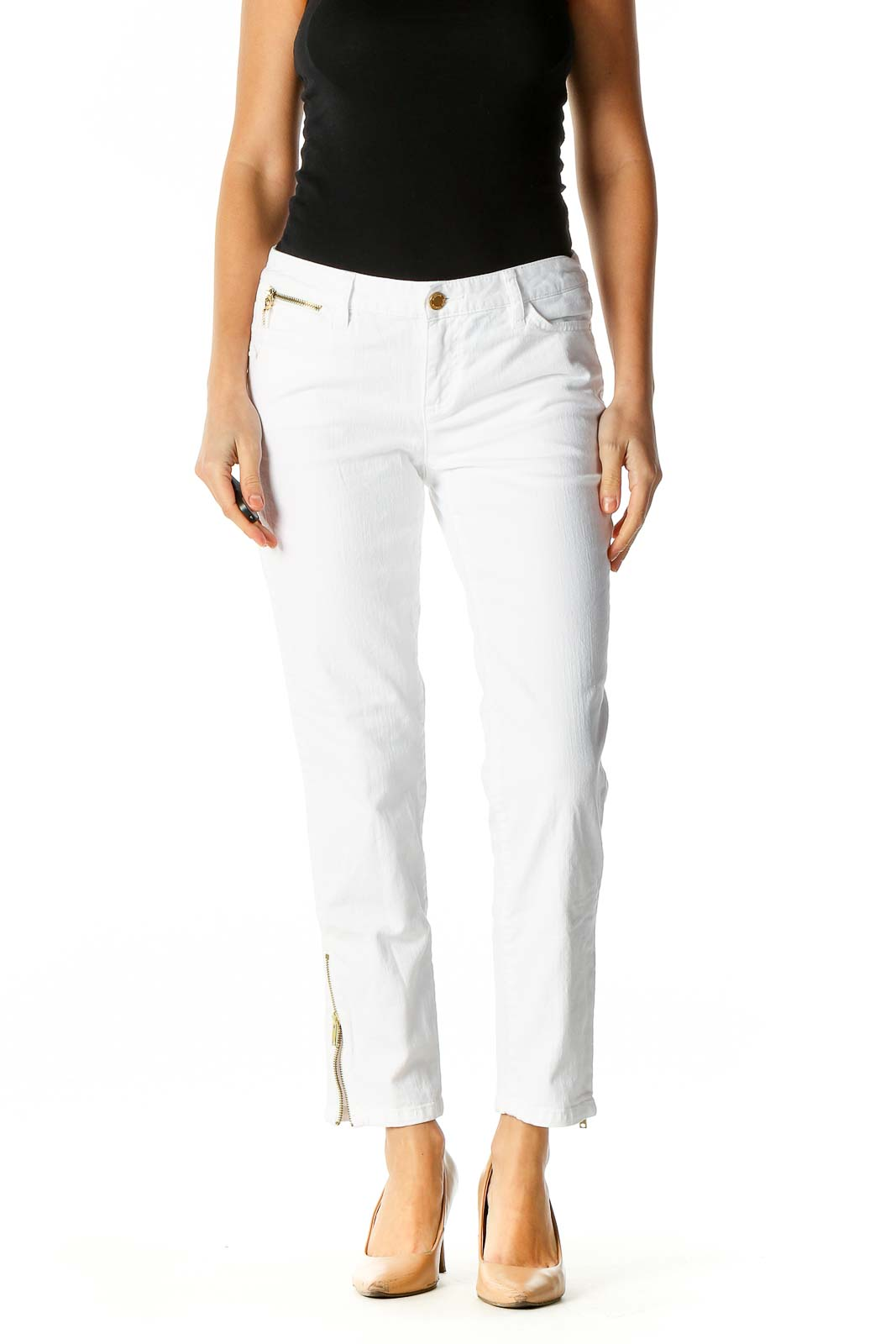 White Skinny Jeans Front