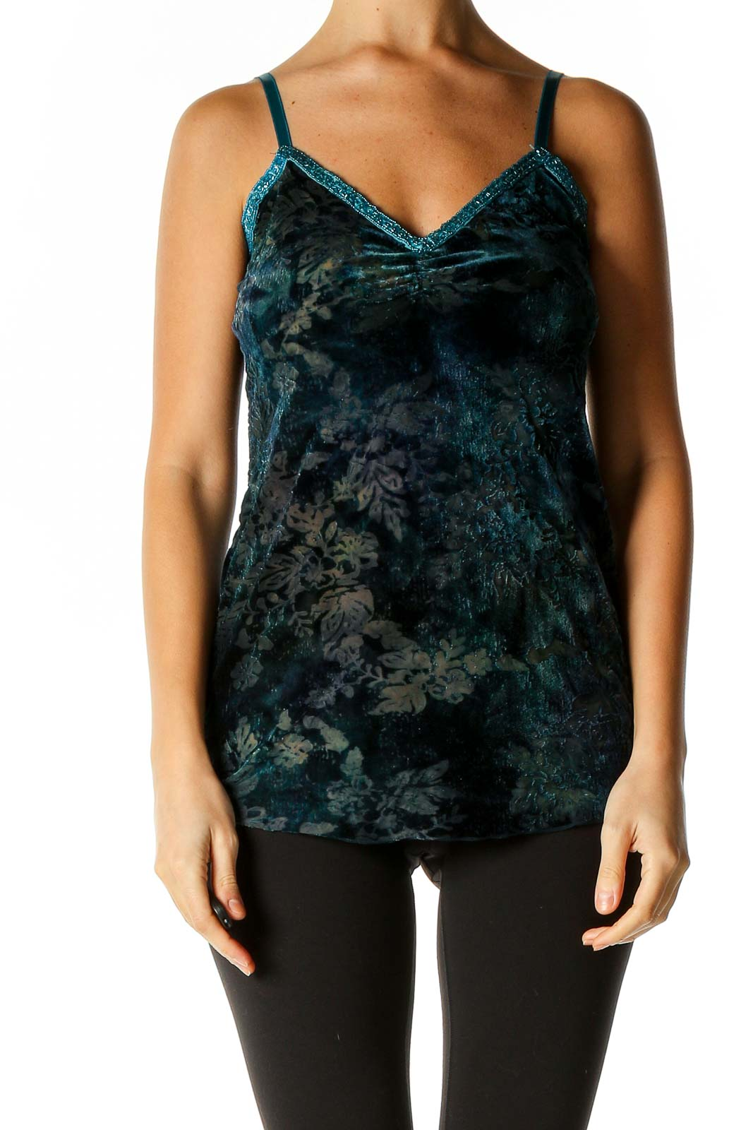 Blue Textured Top Front