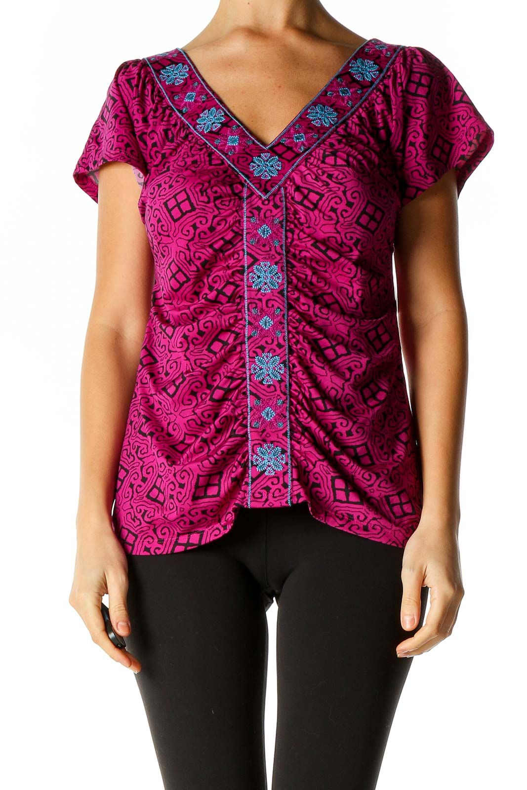 Purple Printed All Day Wear Blouse Front