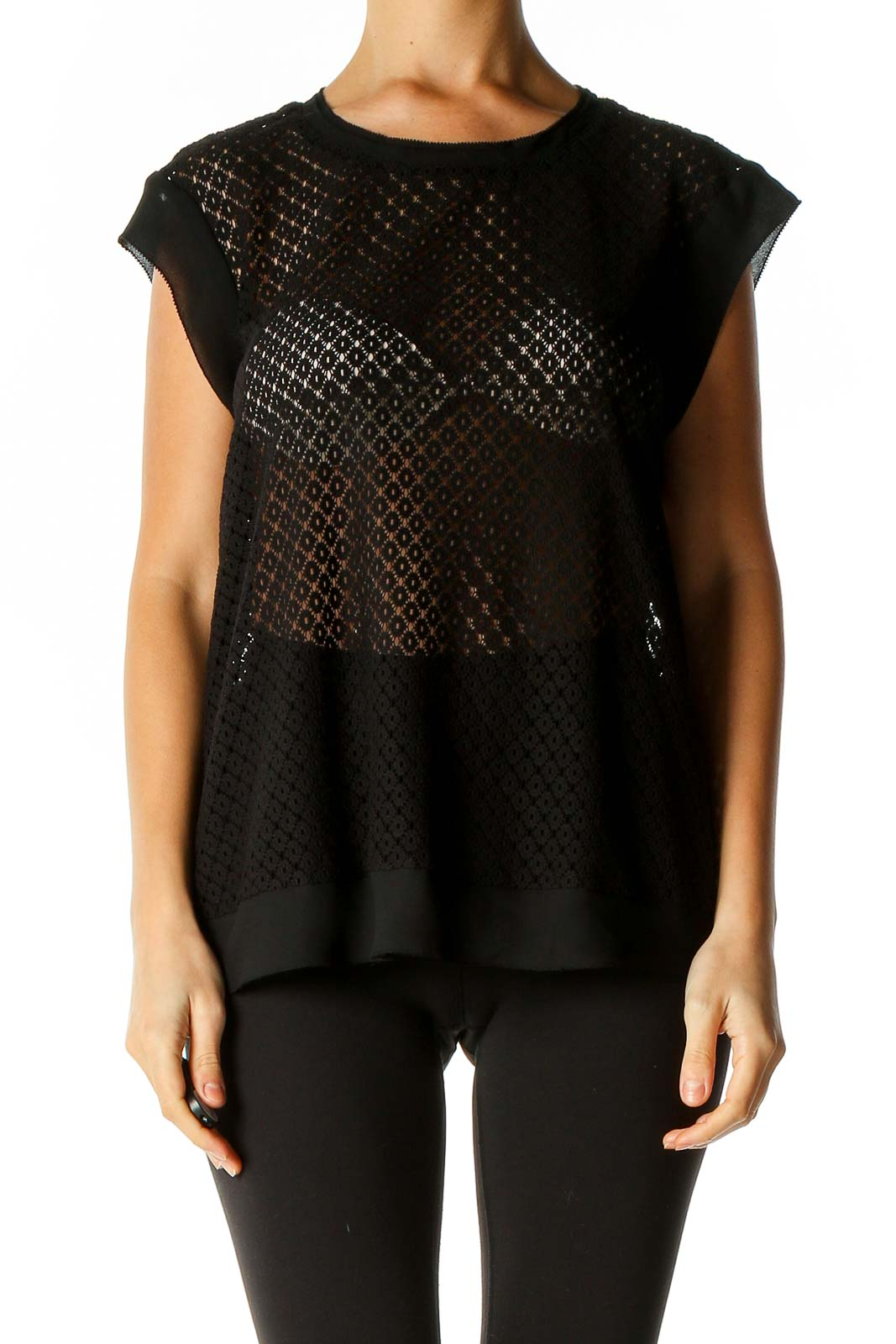 Black Textured Party Blouse Front