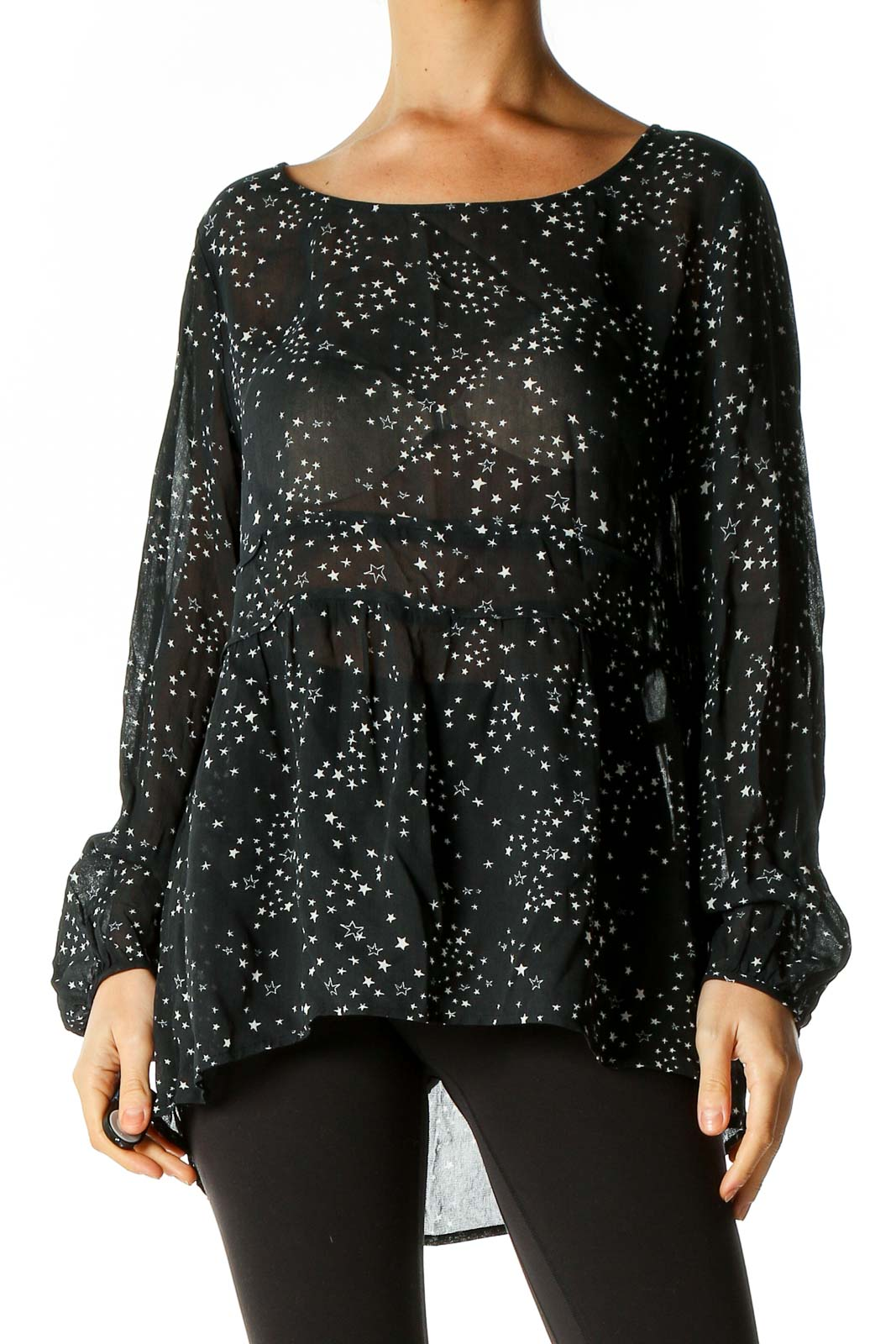 Black Printed Retro Blouse Front