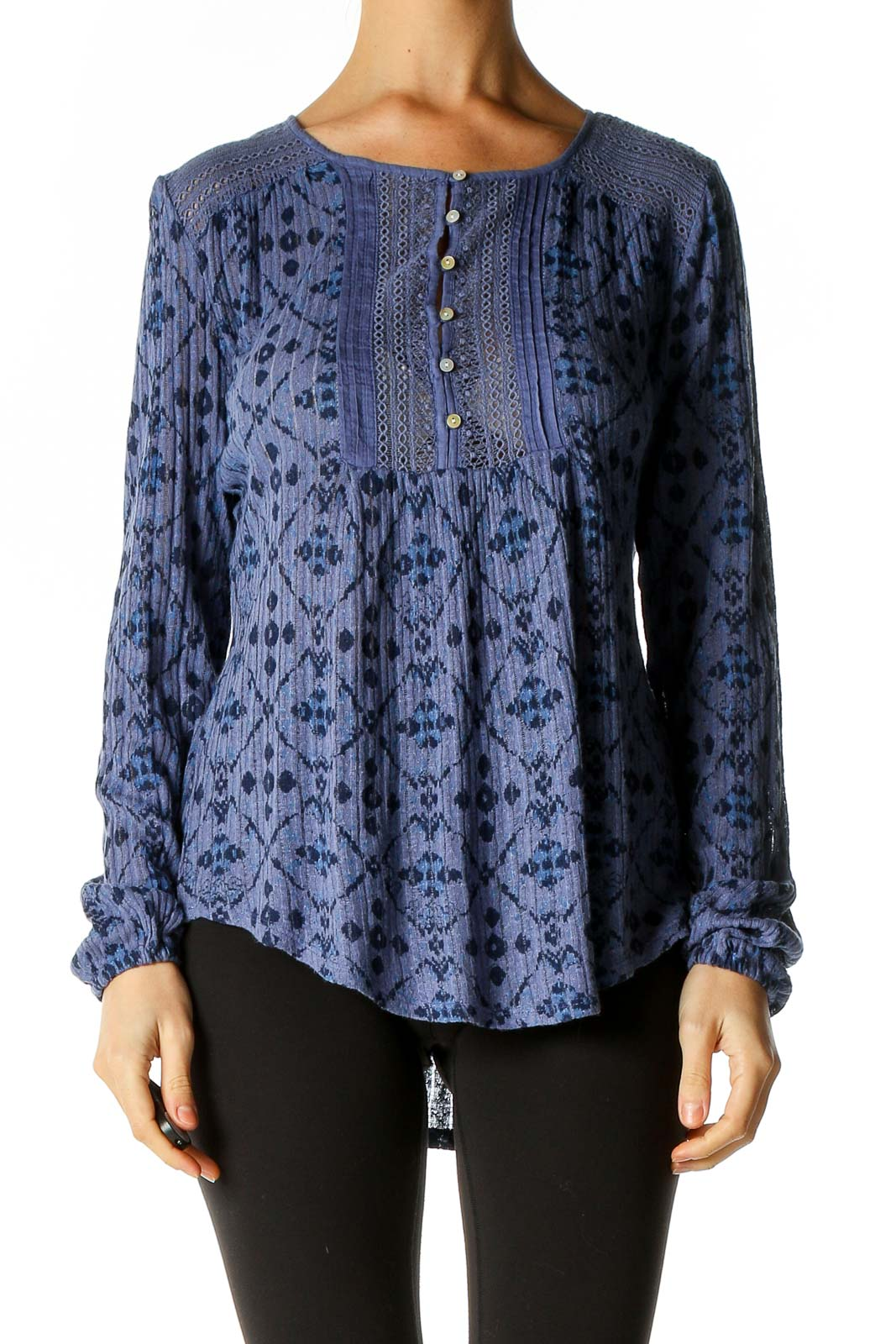 Blue Printed Blouse Front