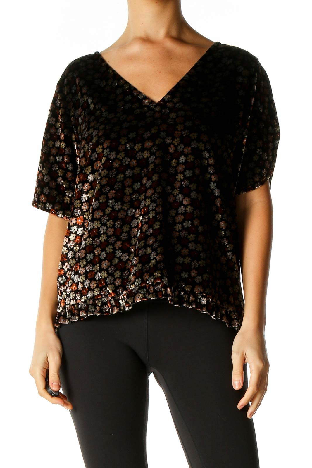 Brown Textured Blouse Front