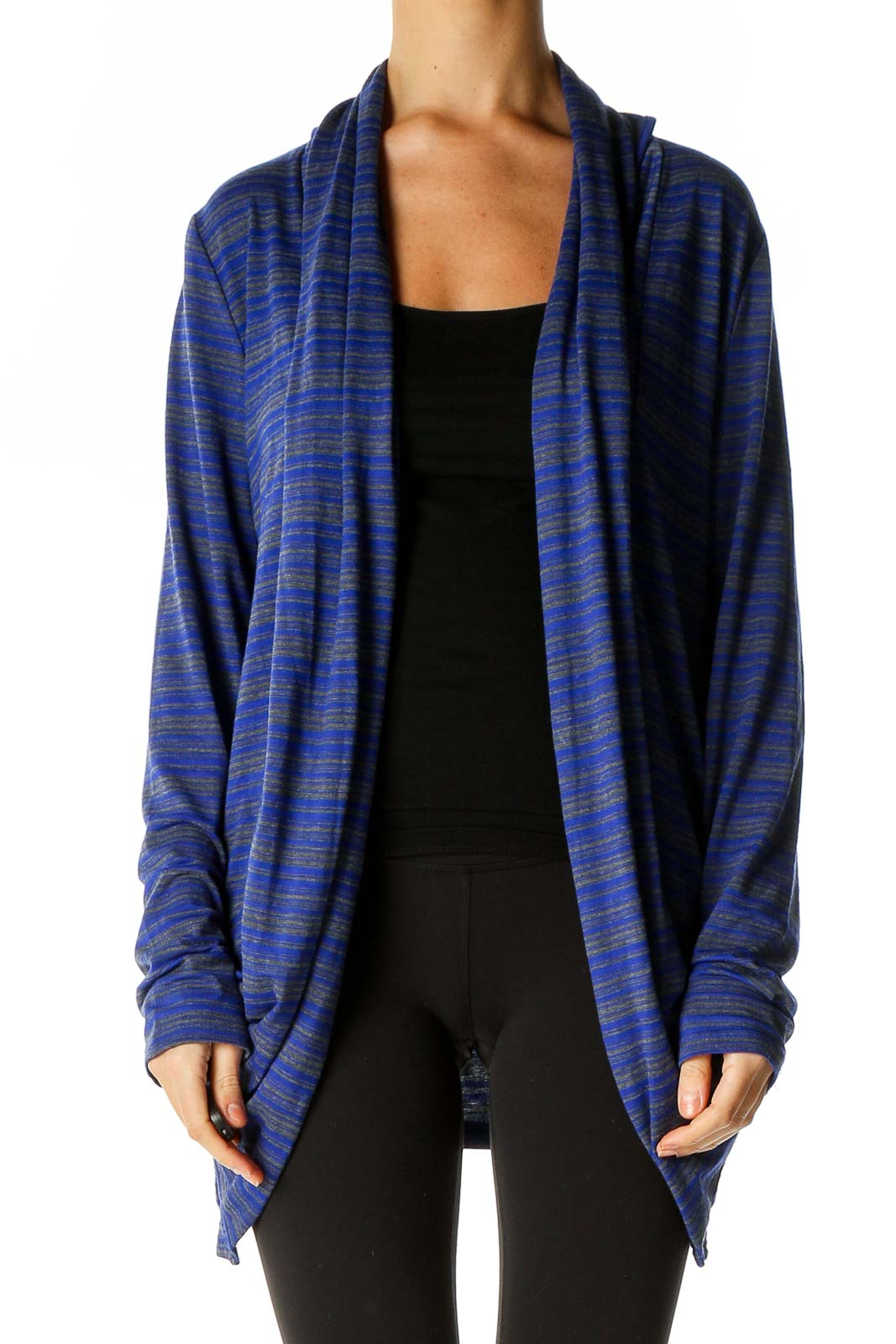 Blue Striped Cardigan Front