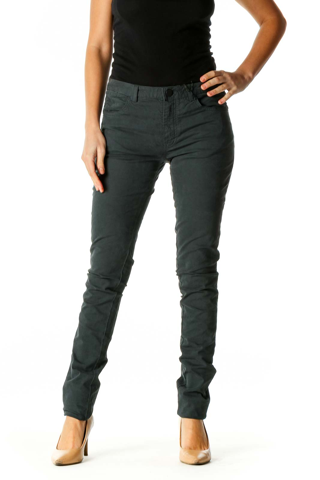 Gray Solid All Day Wear Pants Front