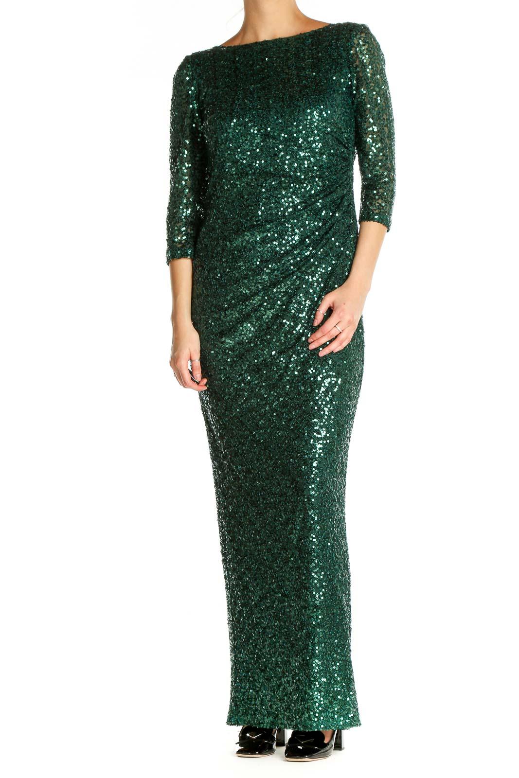 Green Sequin Classic Column Dress Front
