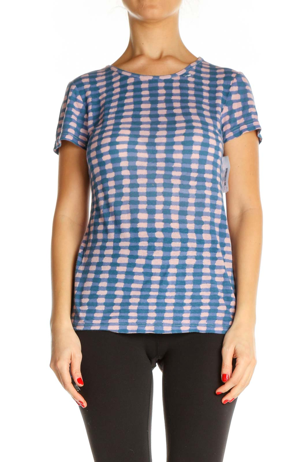 Blue Checkered All Day Wear T-Shirt Front