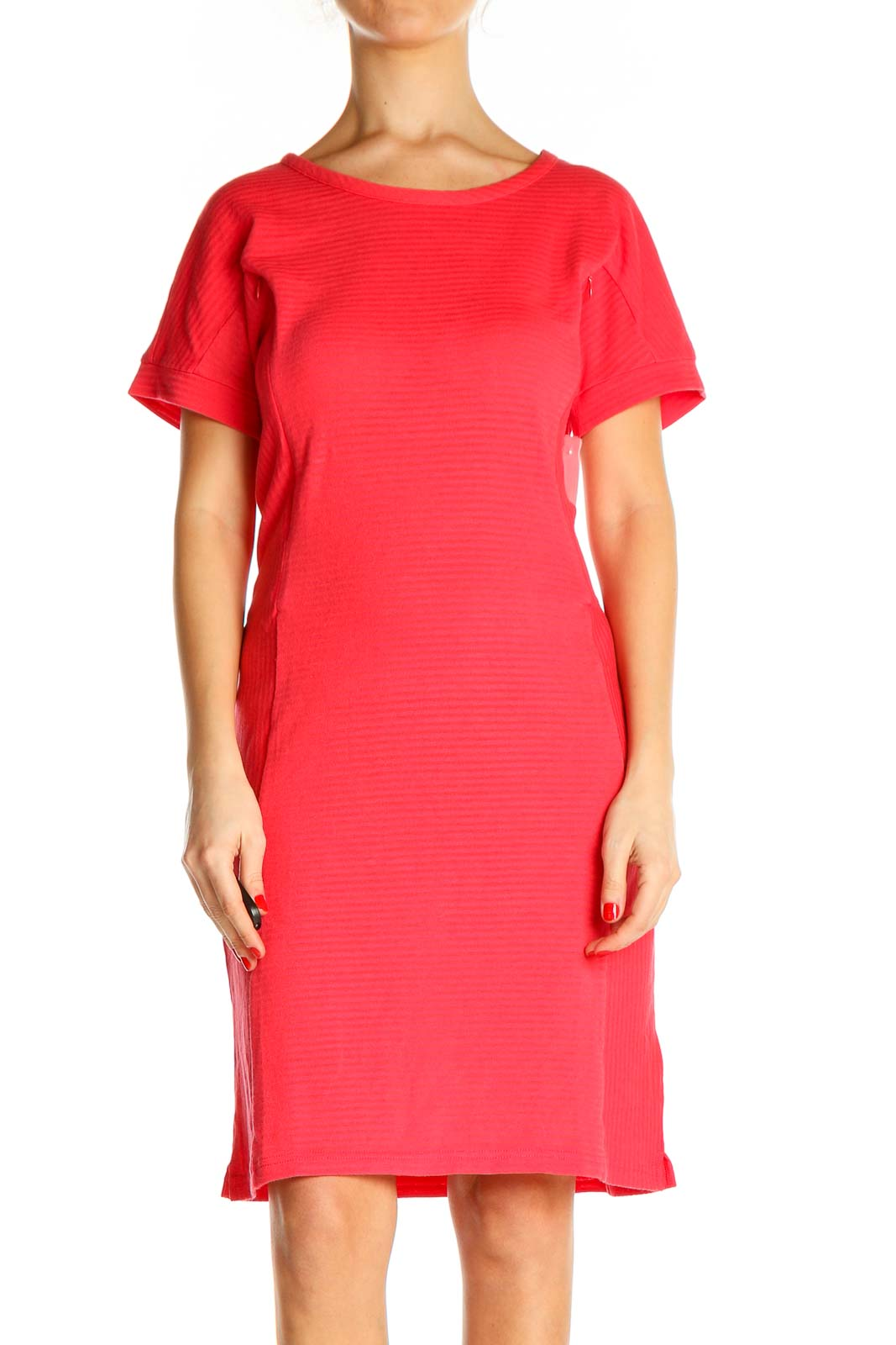 Pink Solid Classic Sheath Dress Front