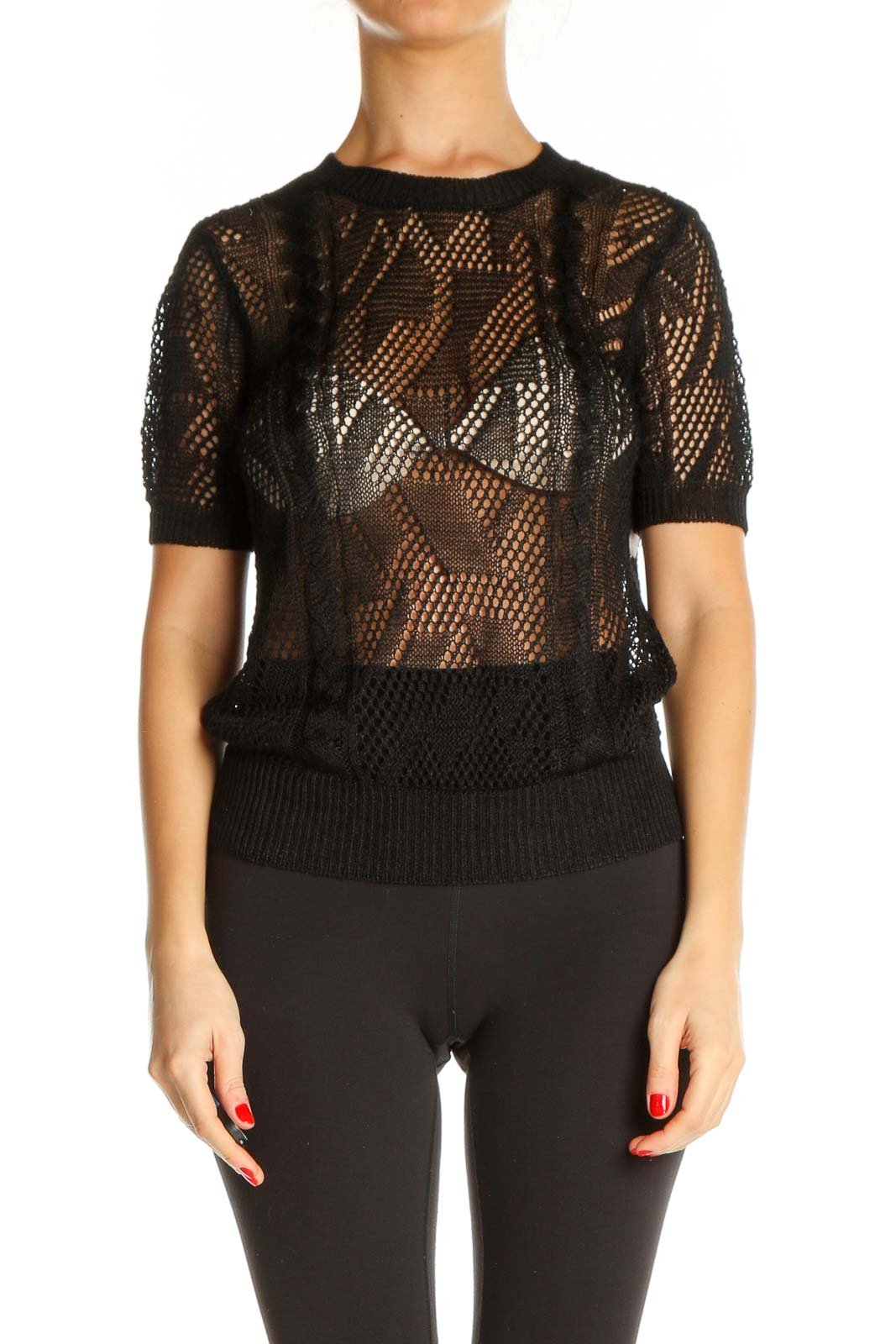 Black Lace Party Sweater Front