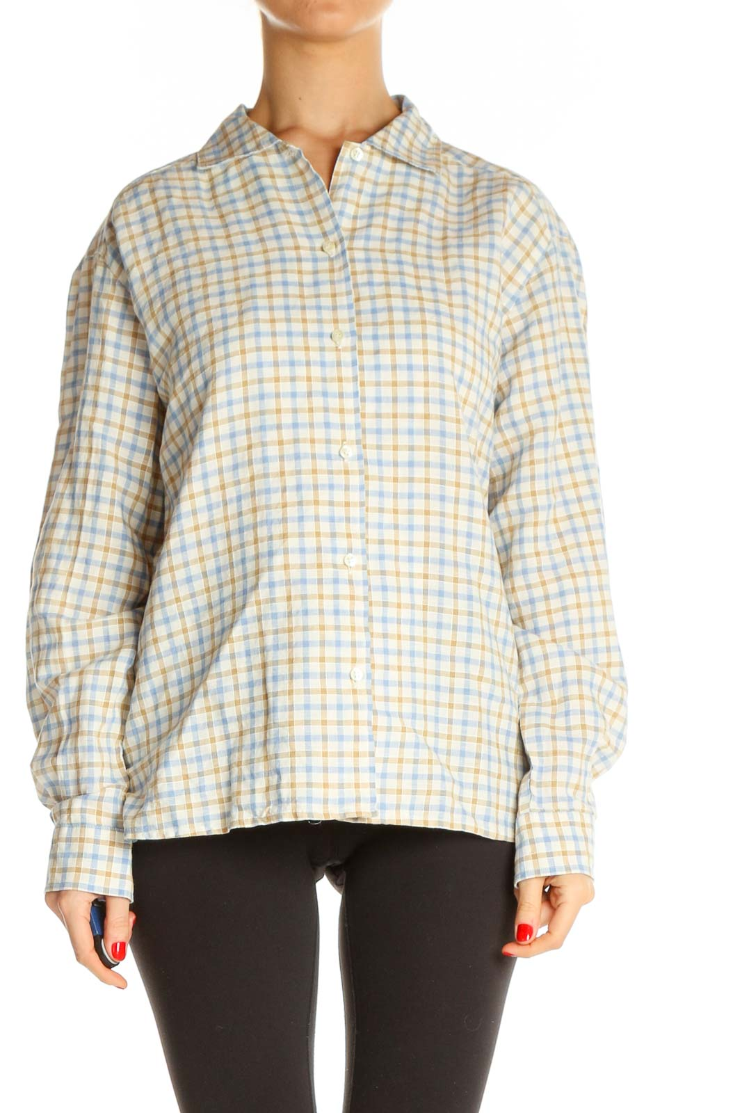 Beige Checkered All Day Wear Shirt Front