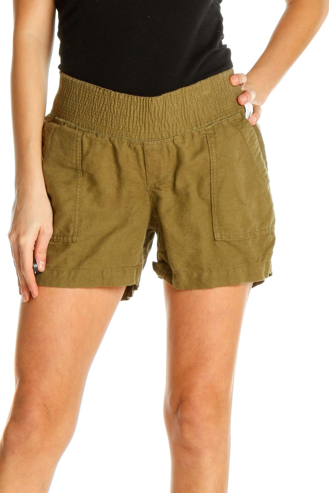 Brown Solid Casual Shorts Front
