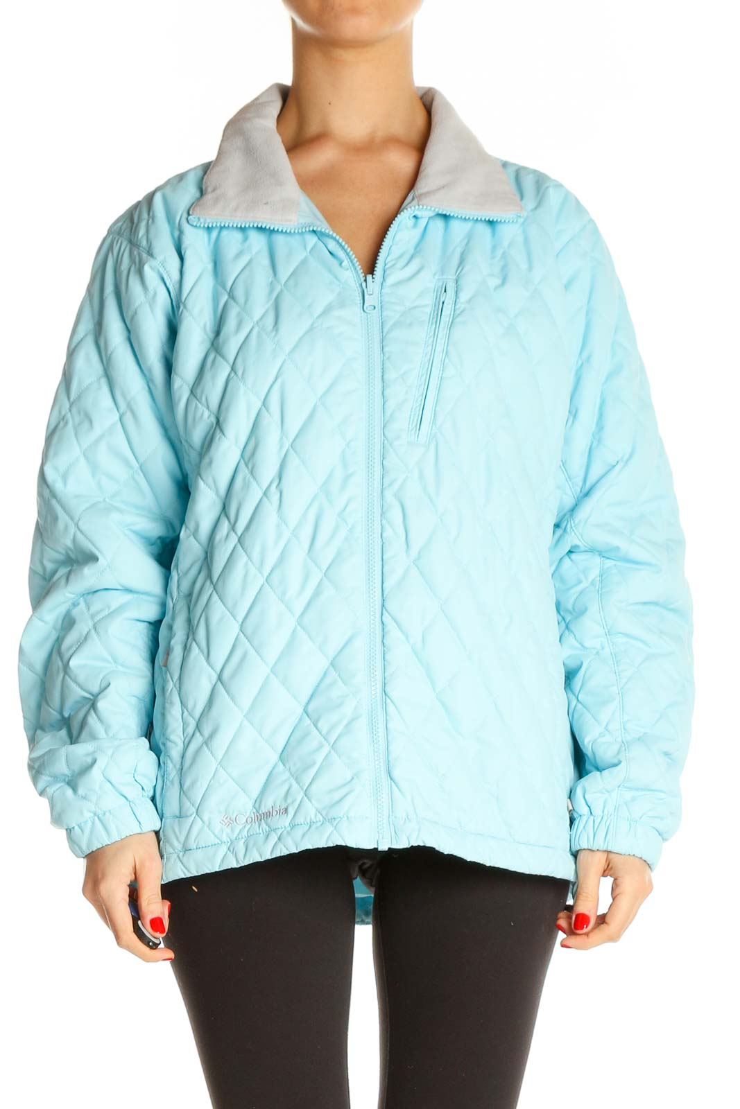 Blue Quilted Jacket Front