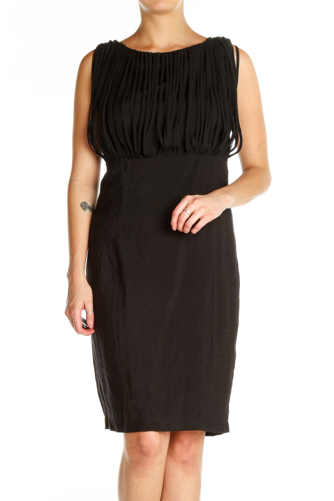Black Solid Sheath Dress Front