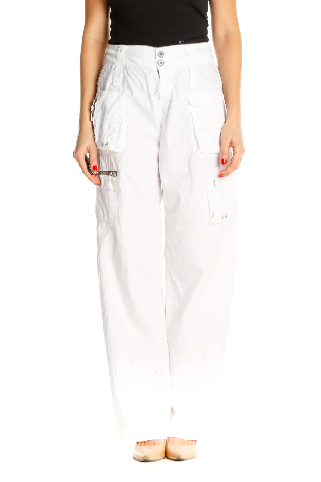 White Printed Casual Trousers Front