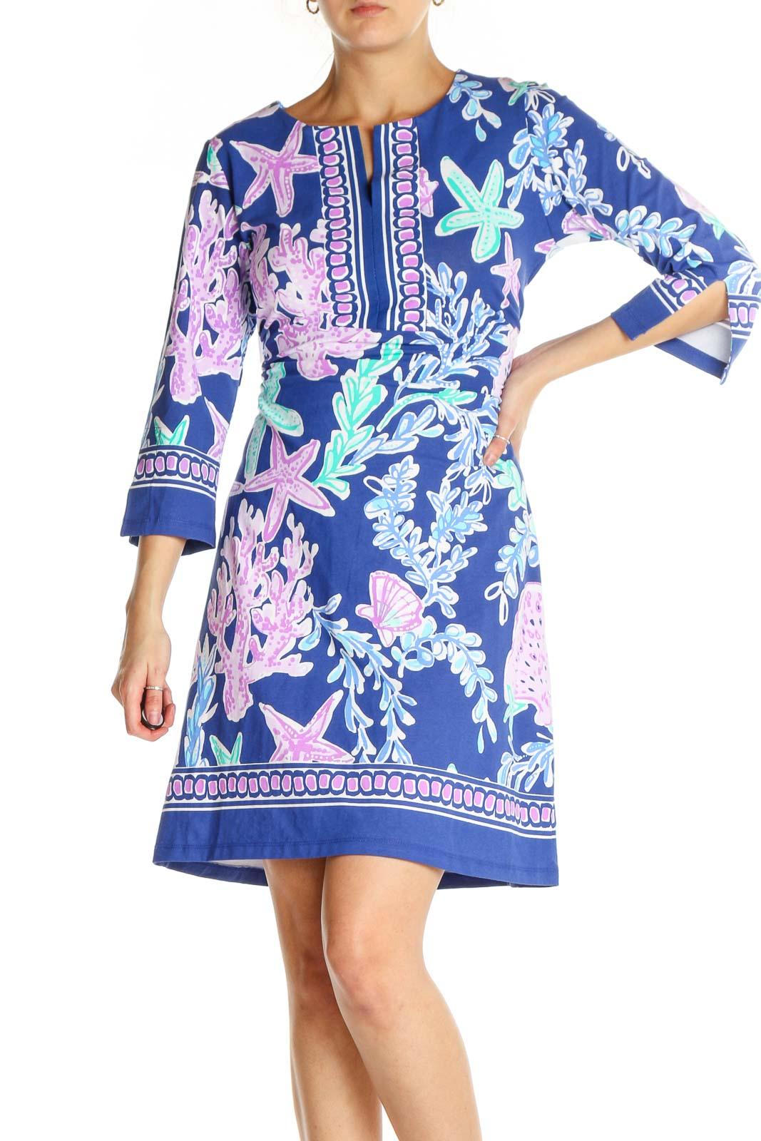 Blue Bohemian A-Line Dress Front