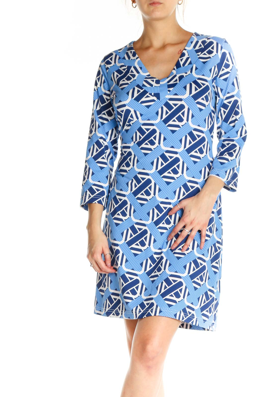 Blue Geometric Print Sheath Dress Front