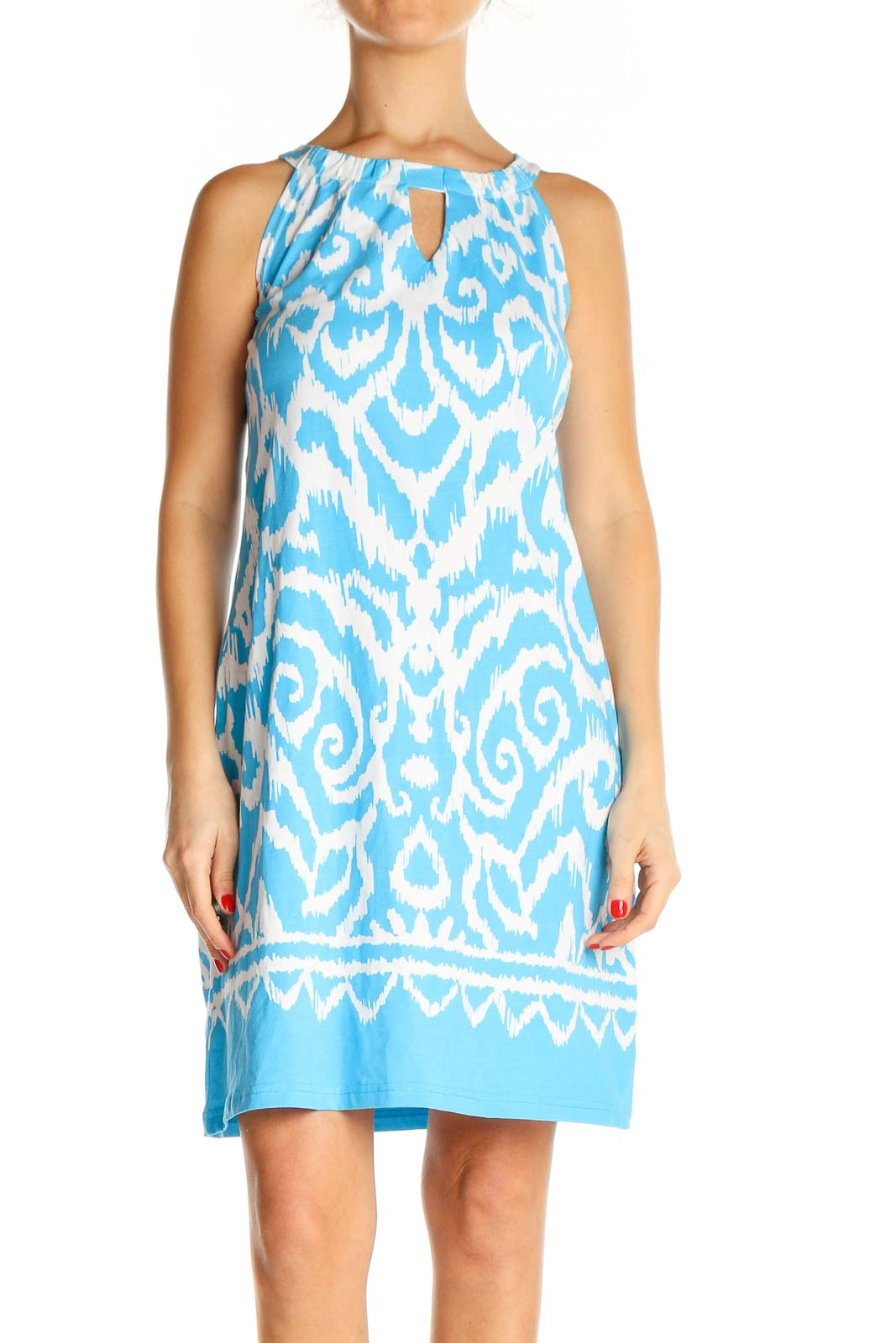 Blue Printed Holiday Sheath Dress Front