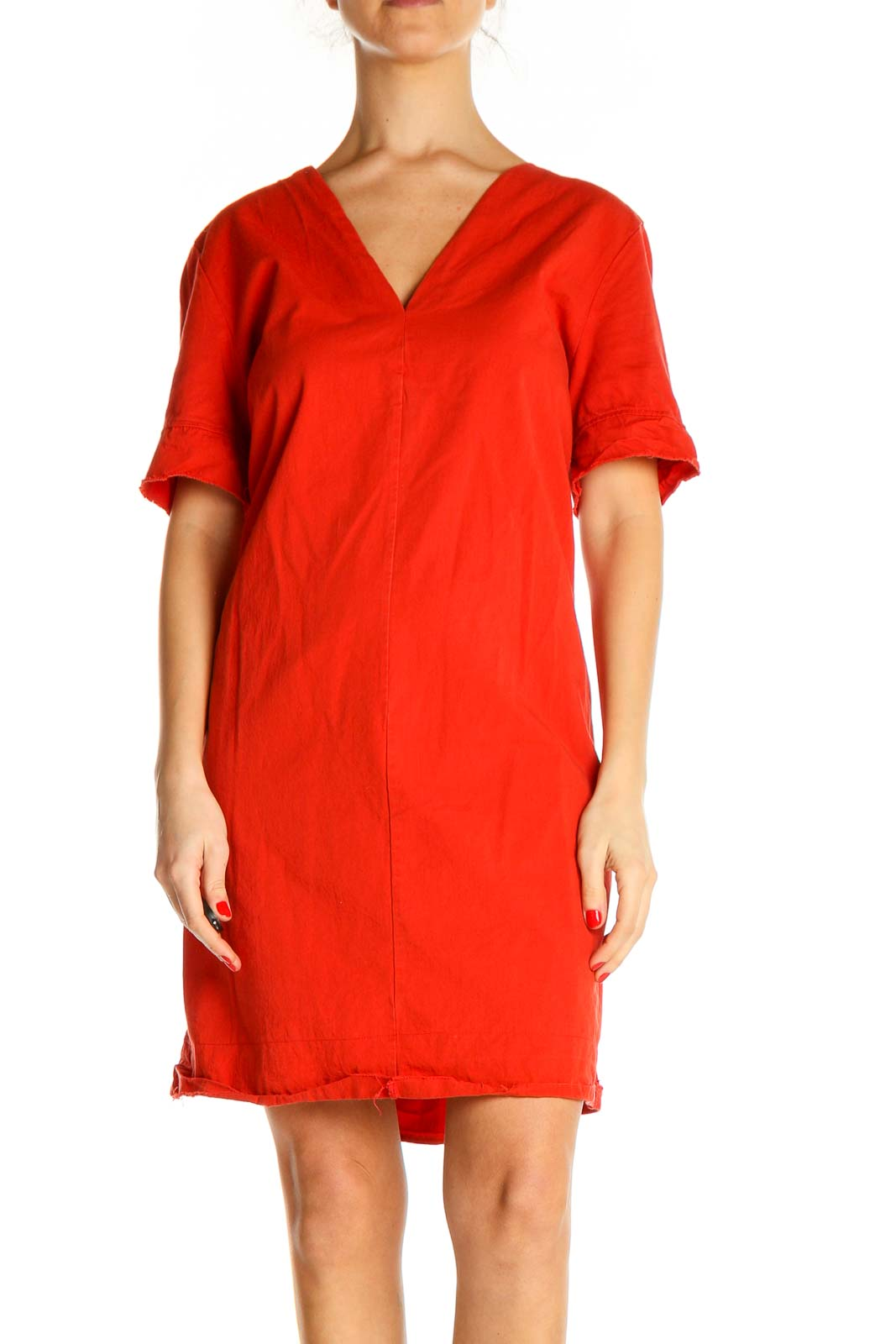 Orange Solid Casual Dress Front