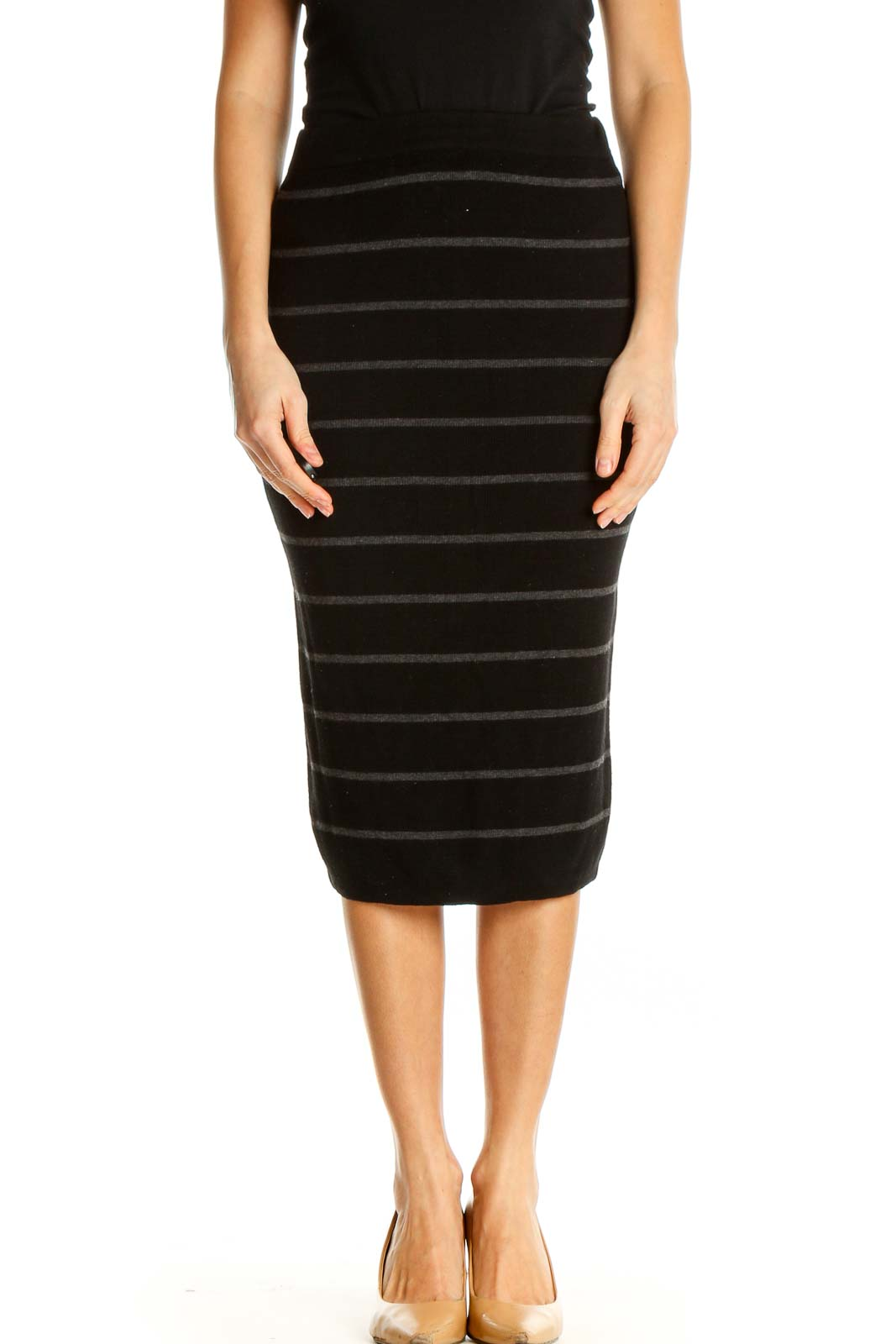 Black Striped Chic Skirt Front
