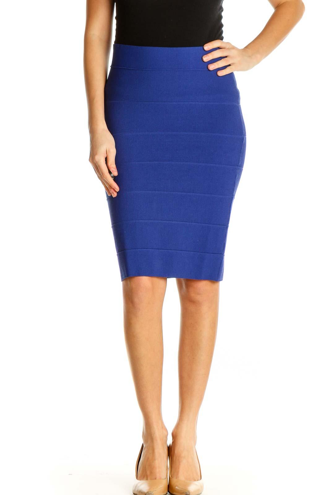 Blue Textured Brunch Pencil Skirt Front
