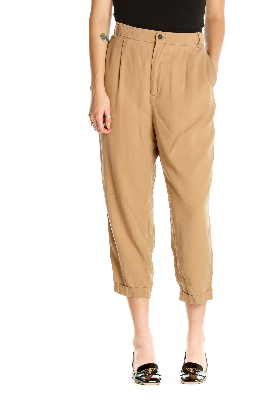 Beige Solid All Day Wear Sweatpants Front