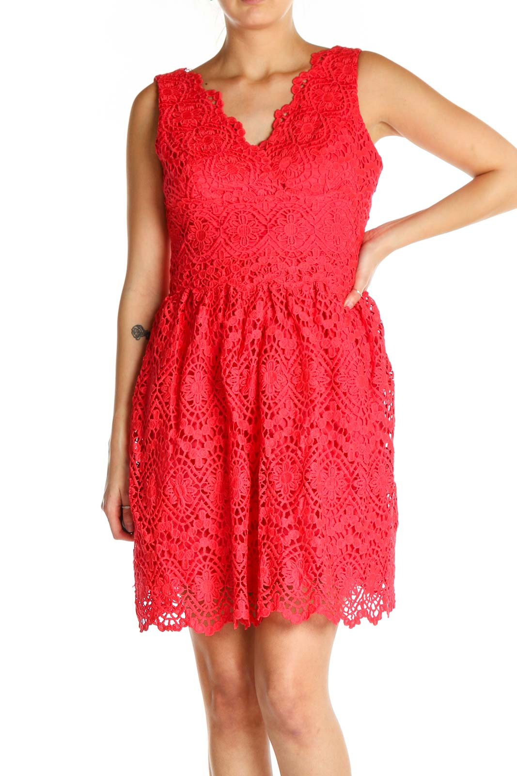 Pink Lace Bohemian Fit & Flare Dress Front