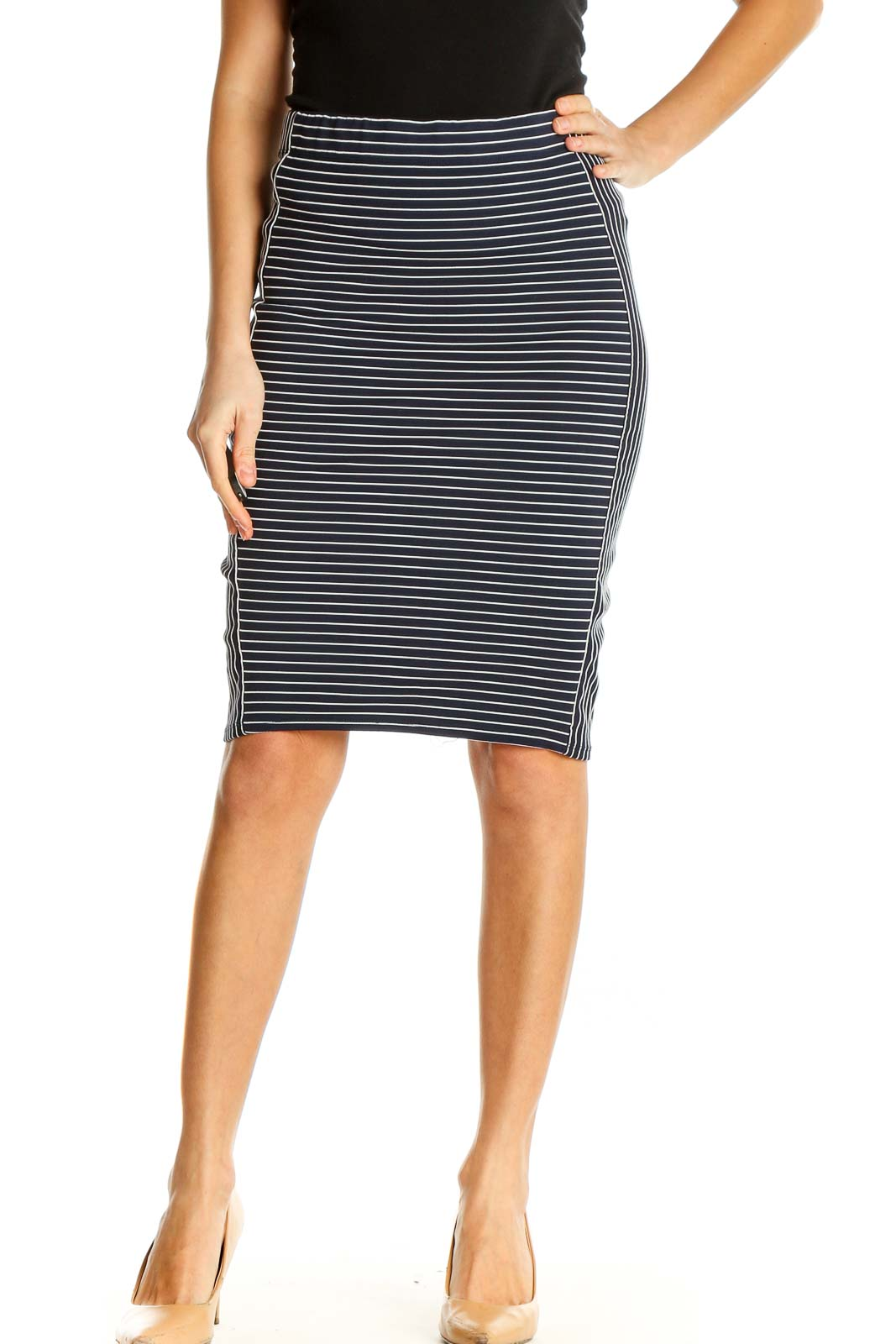 Blue Printed All Day Wear Pencil Skirt Front