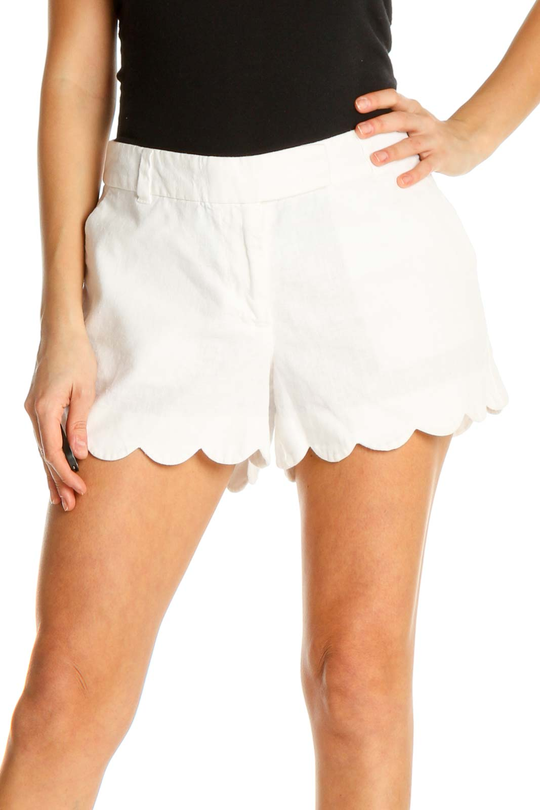 White Solid Chic Shorts Front