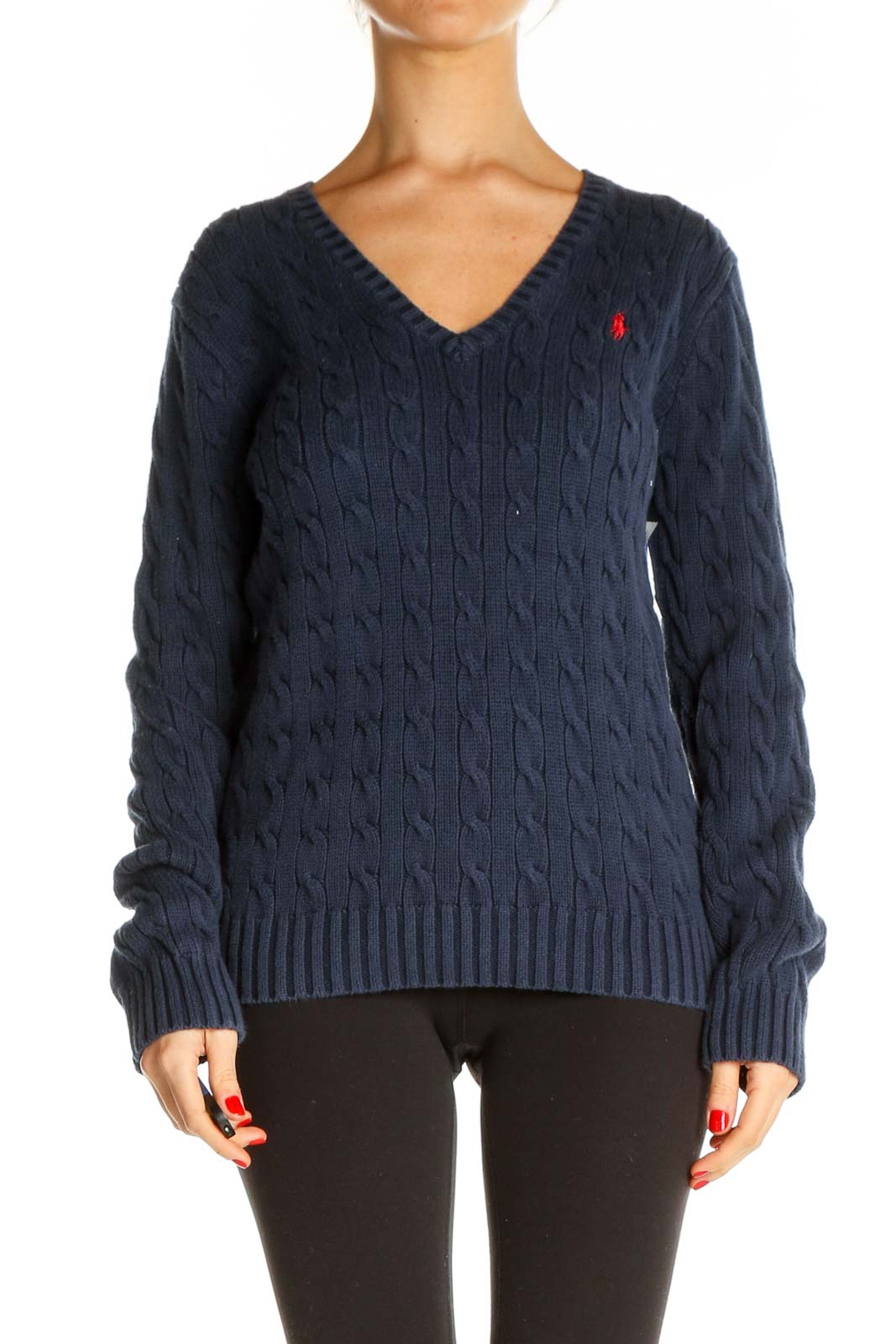 Blue Textured All Day Wear Sweater Front