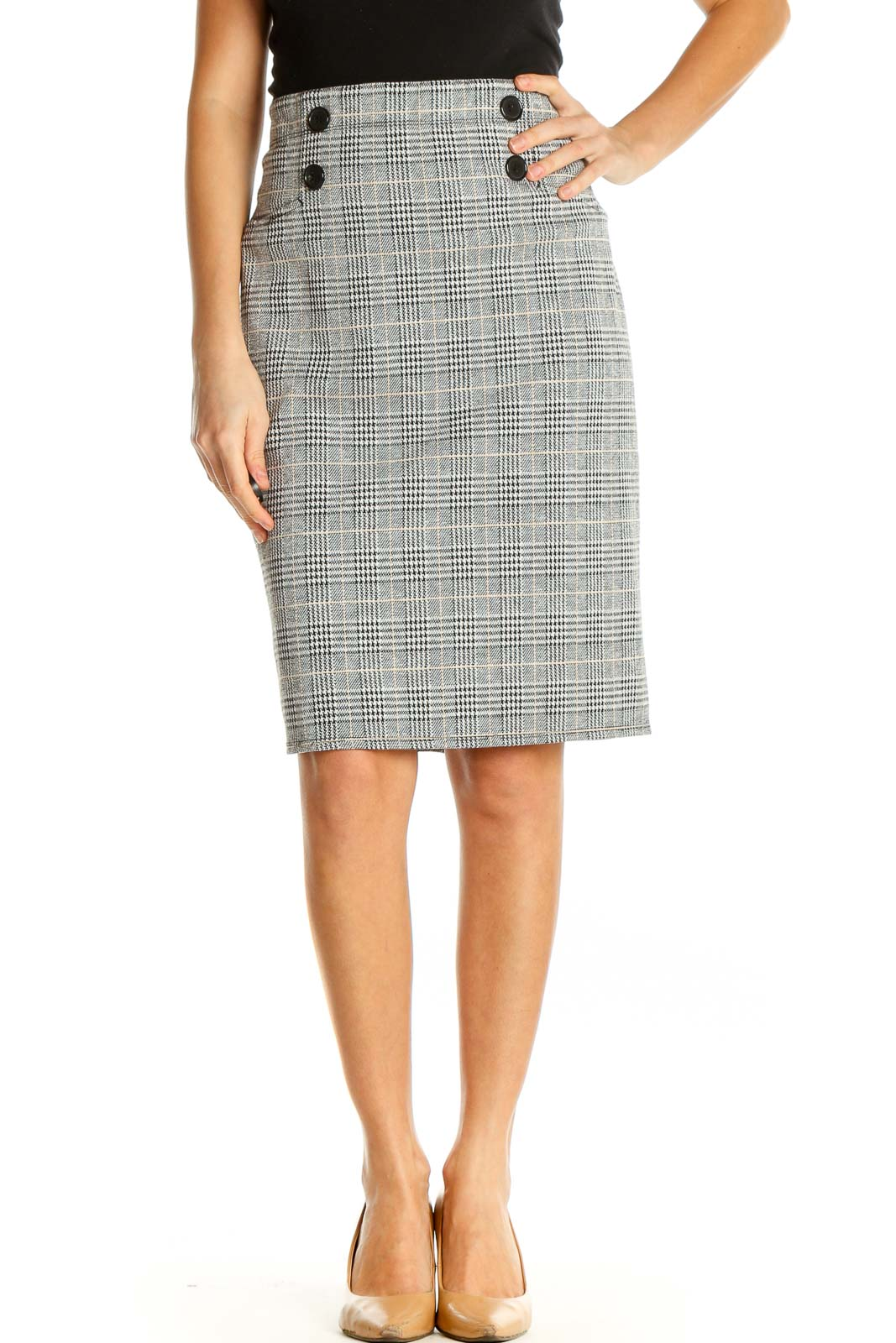 Gray Printed Classic Pencil Skirt Front