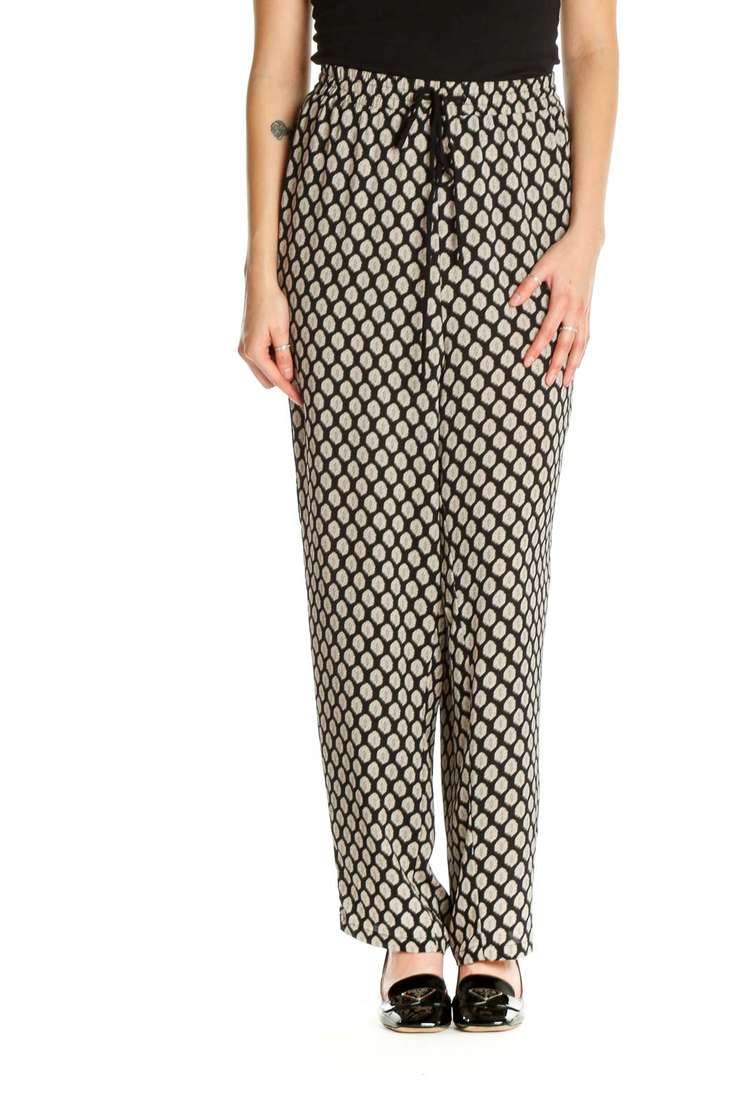 White Printed All Day Wear Trousers Front
