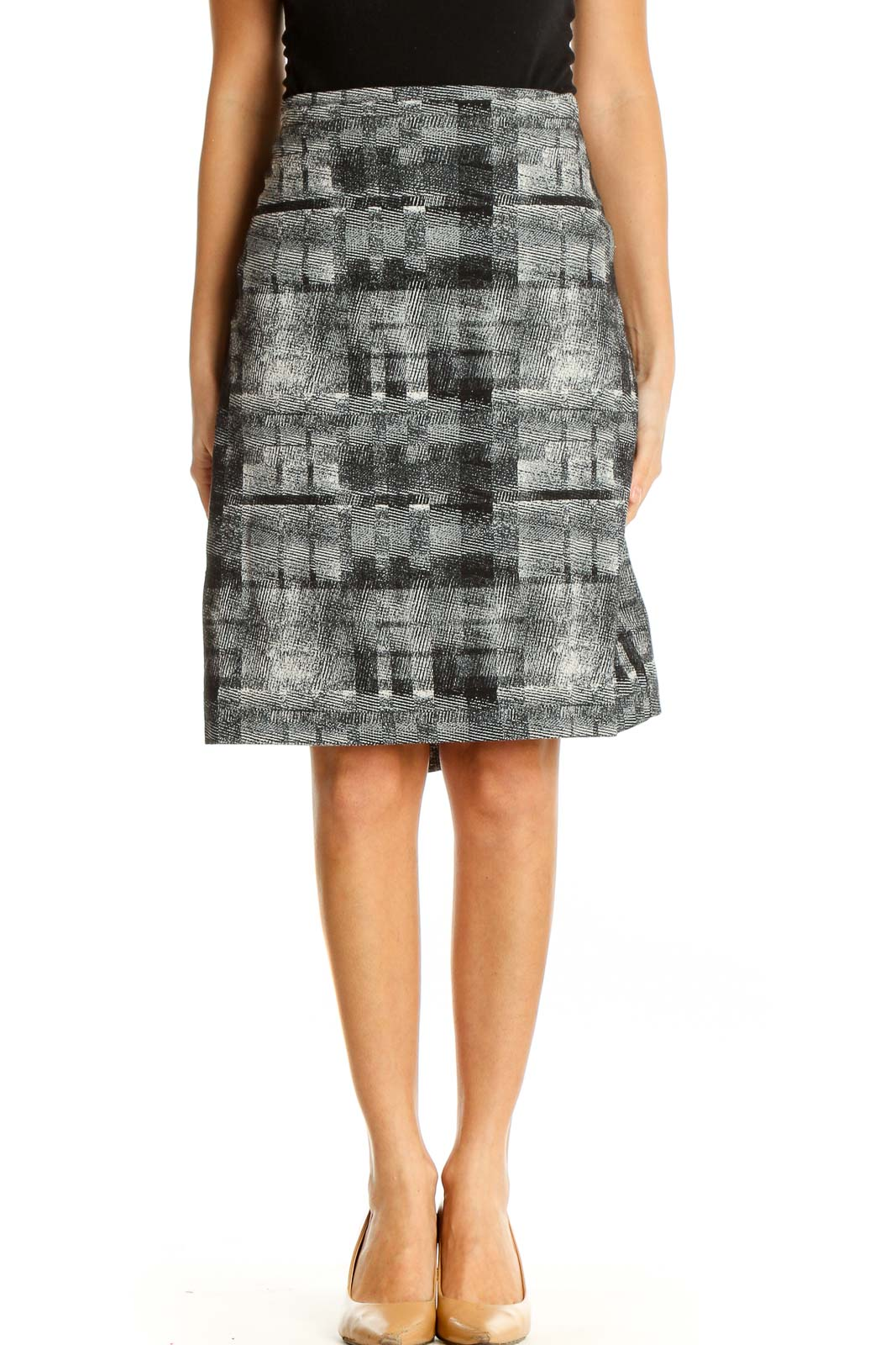 Black Printed All Day Wear A-Line Skirt Front