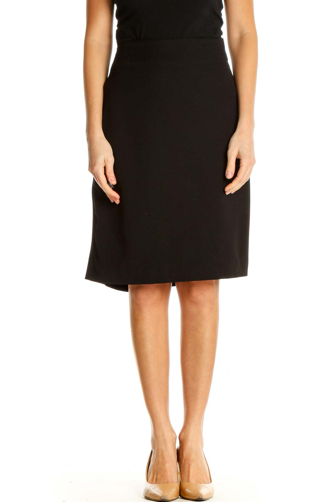 Black Solid Classic Straight Skirt Front