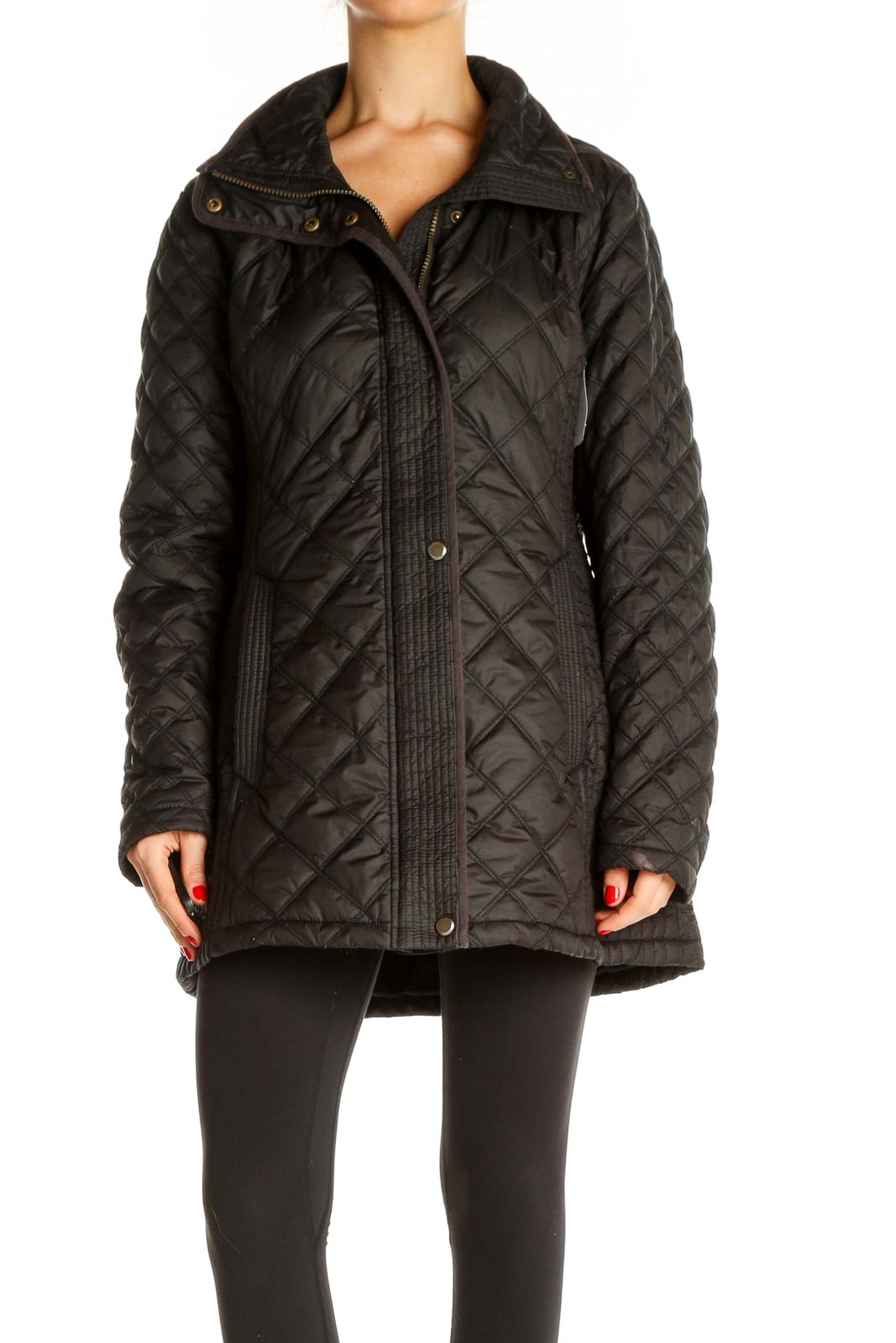 Black Quilted Jacket Front