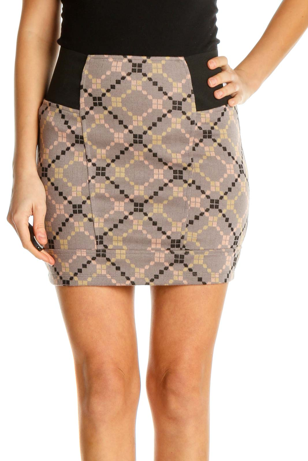 Brown Printed Chic Pencil Skirt Front
