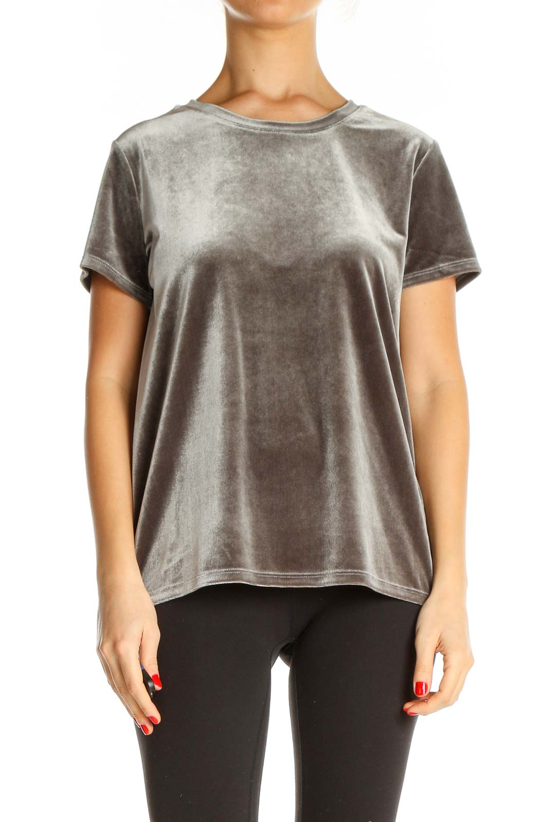 Brown Textured Casual T-Shirt Front