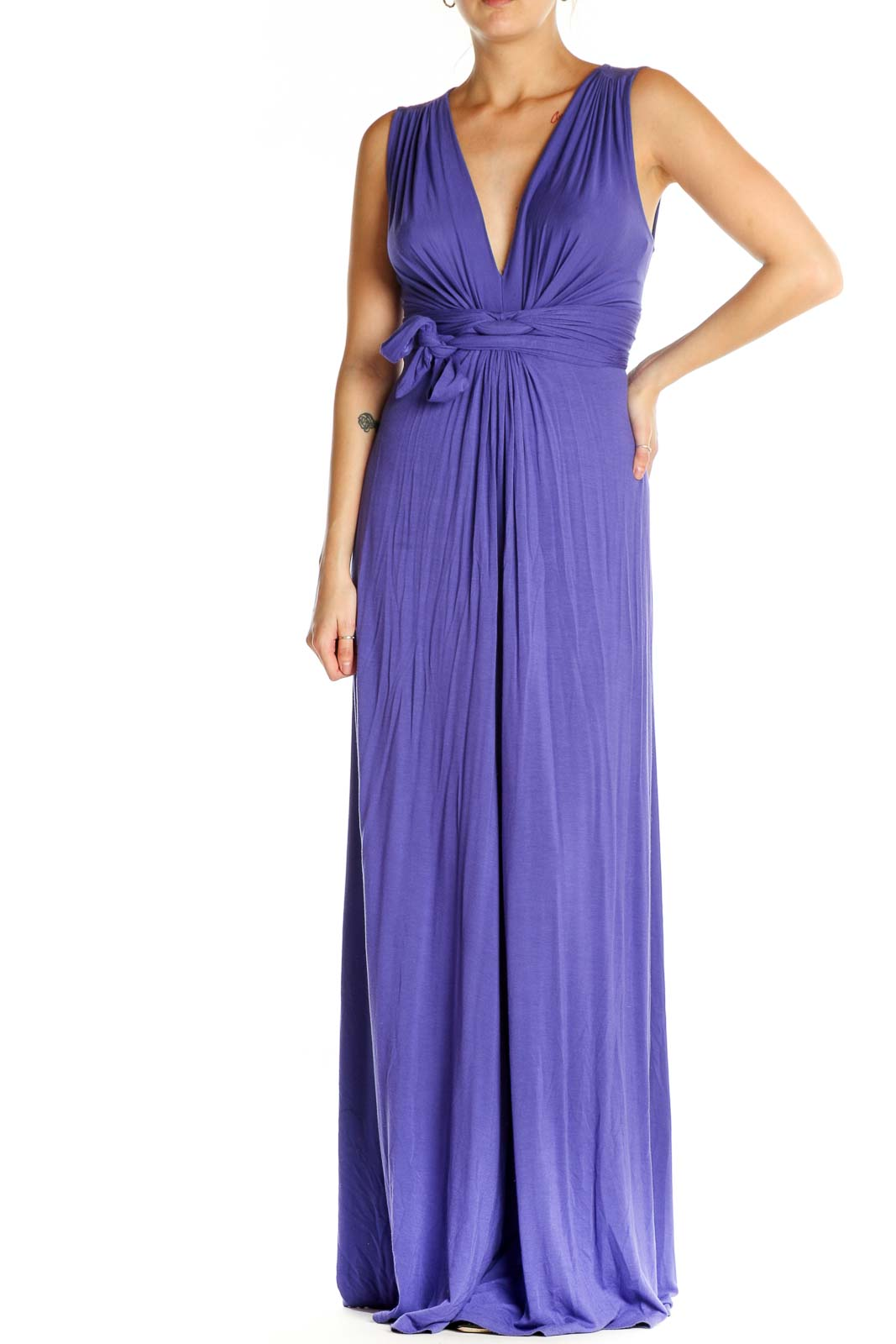 Purple Solid Cocktail Fit & Flare Dress Front