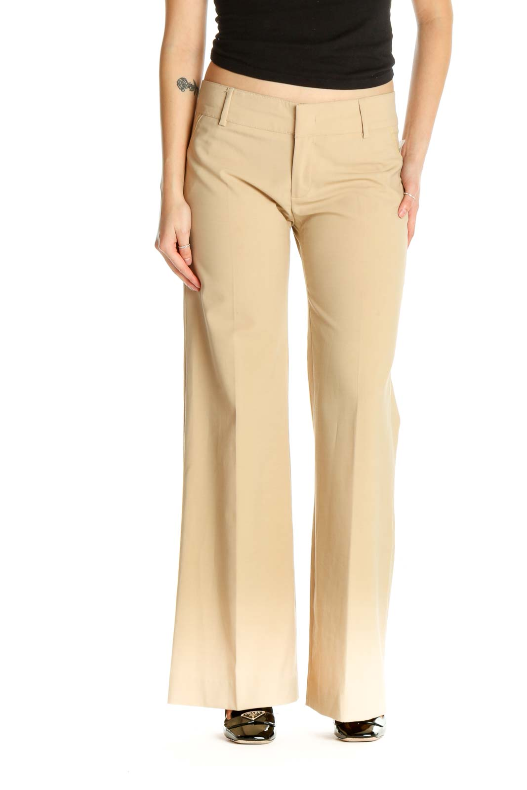 Beige Printed Casual Trousers Front