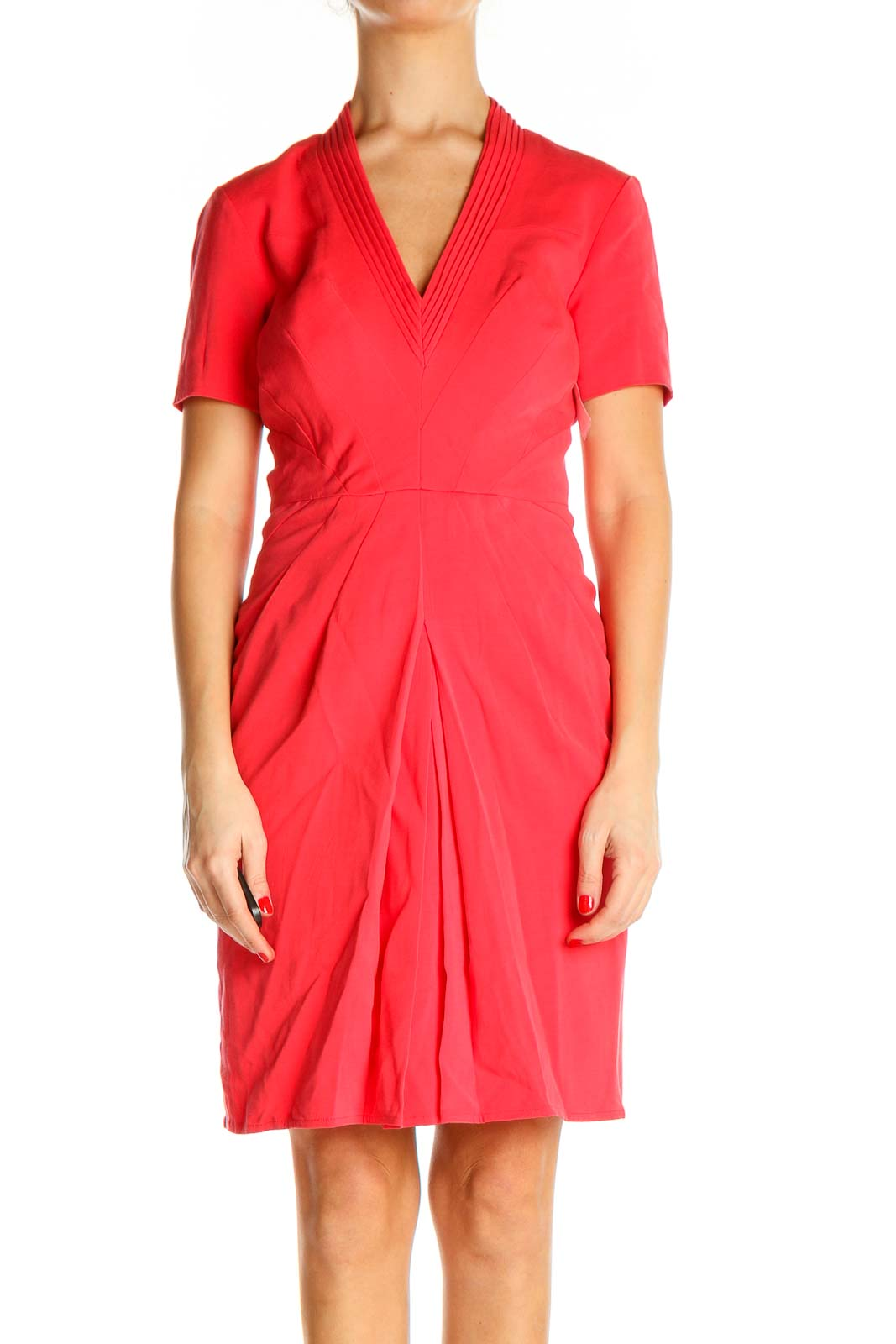 Pink Solid Classic Fit & Flare Dress Front