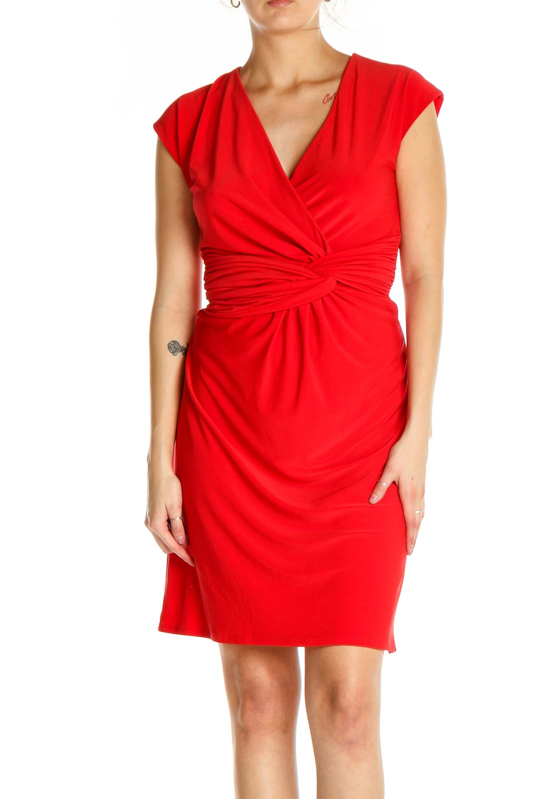 Red Solid Classic Sheath Dress Front