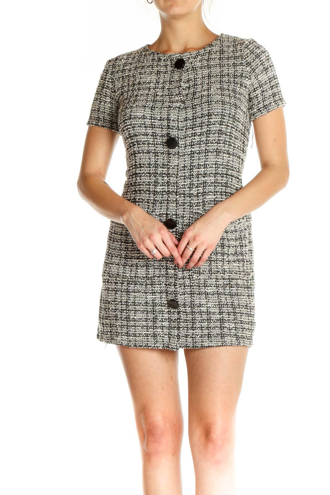 Gray Checkered Day Sheath Dress Front