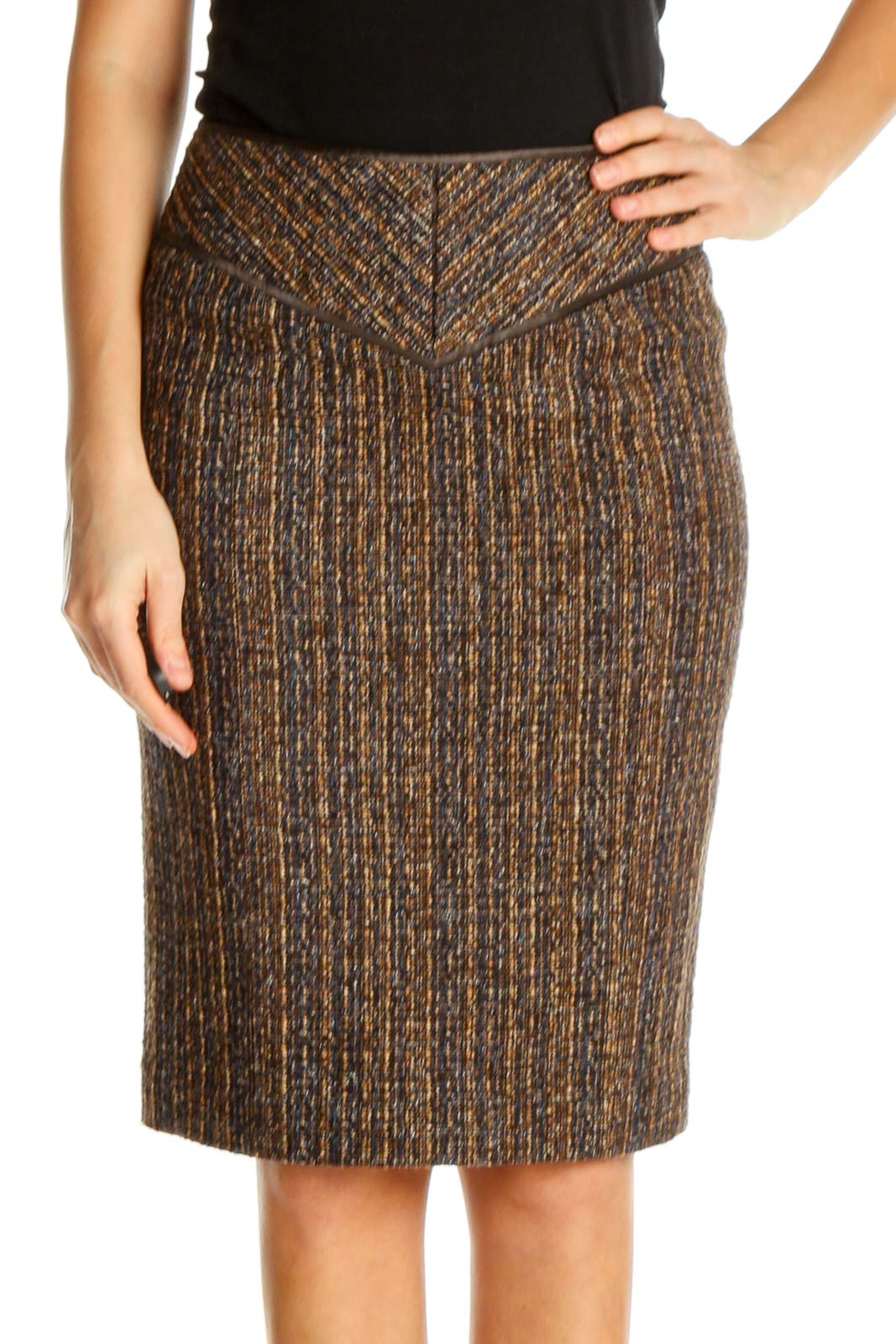 Brown Printed Classic Pencil Skirt Front