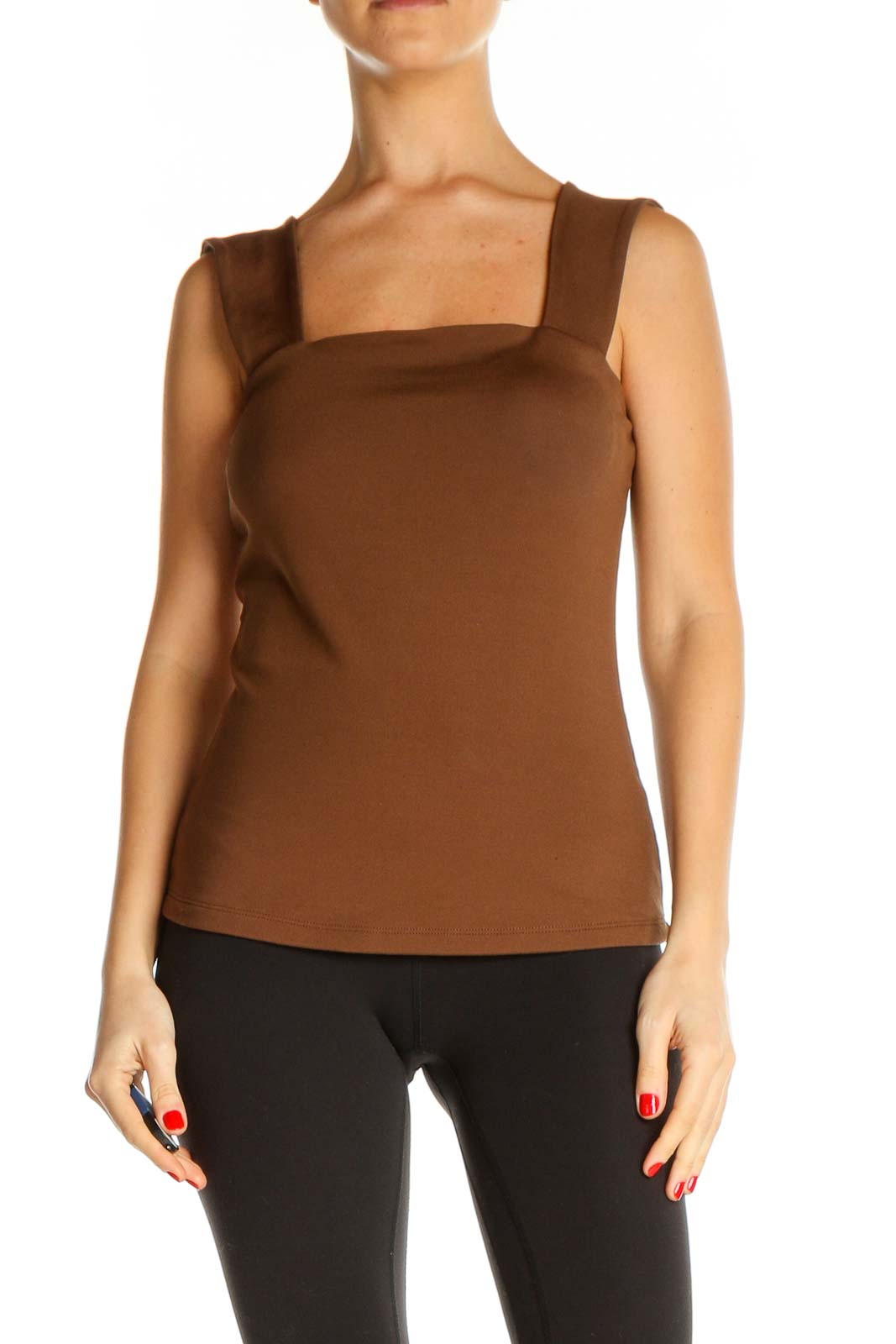 Brown Solid Chic Tank Top Front