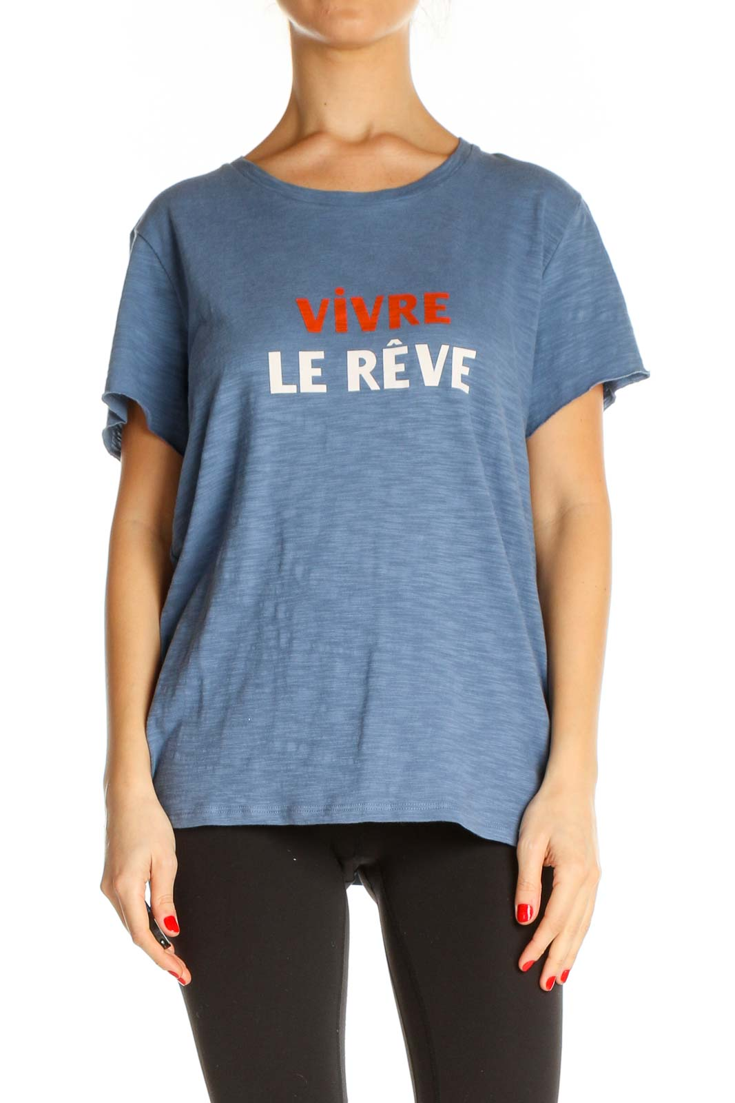 Blue Graphic Print Casual T-Shirt Front