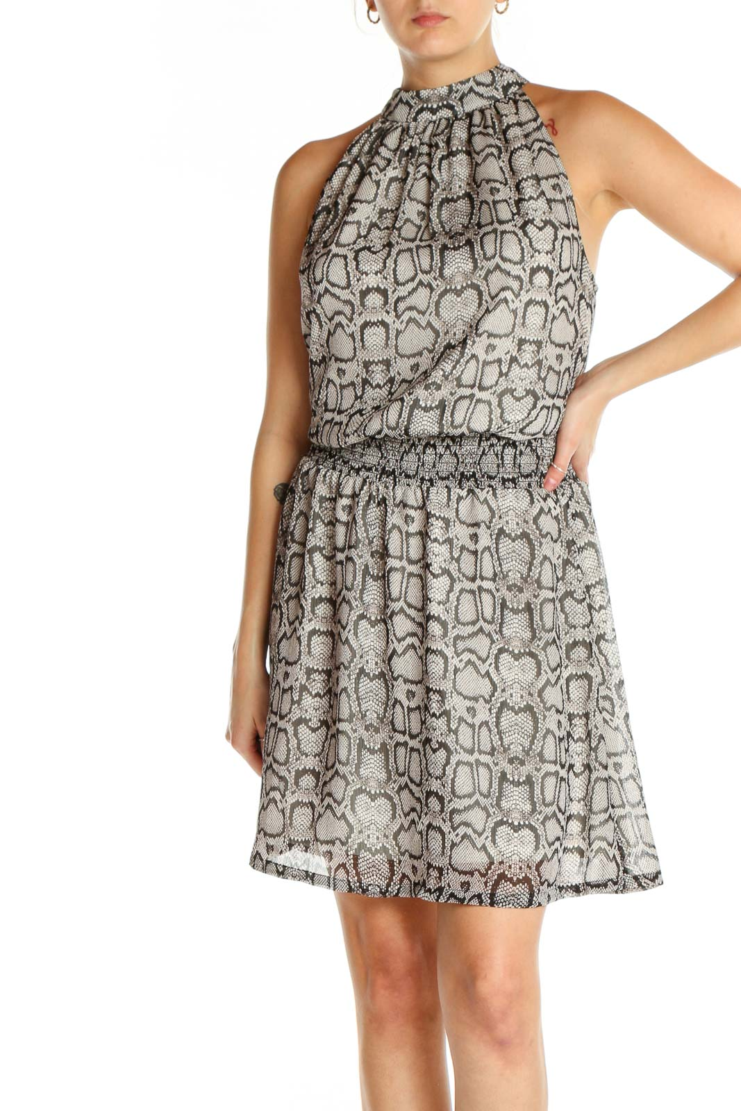 Gray Printed Bohemian Fit & Flare Dress Front