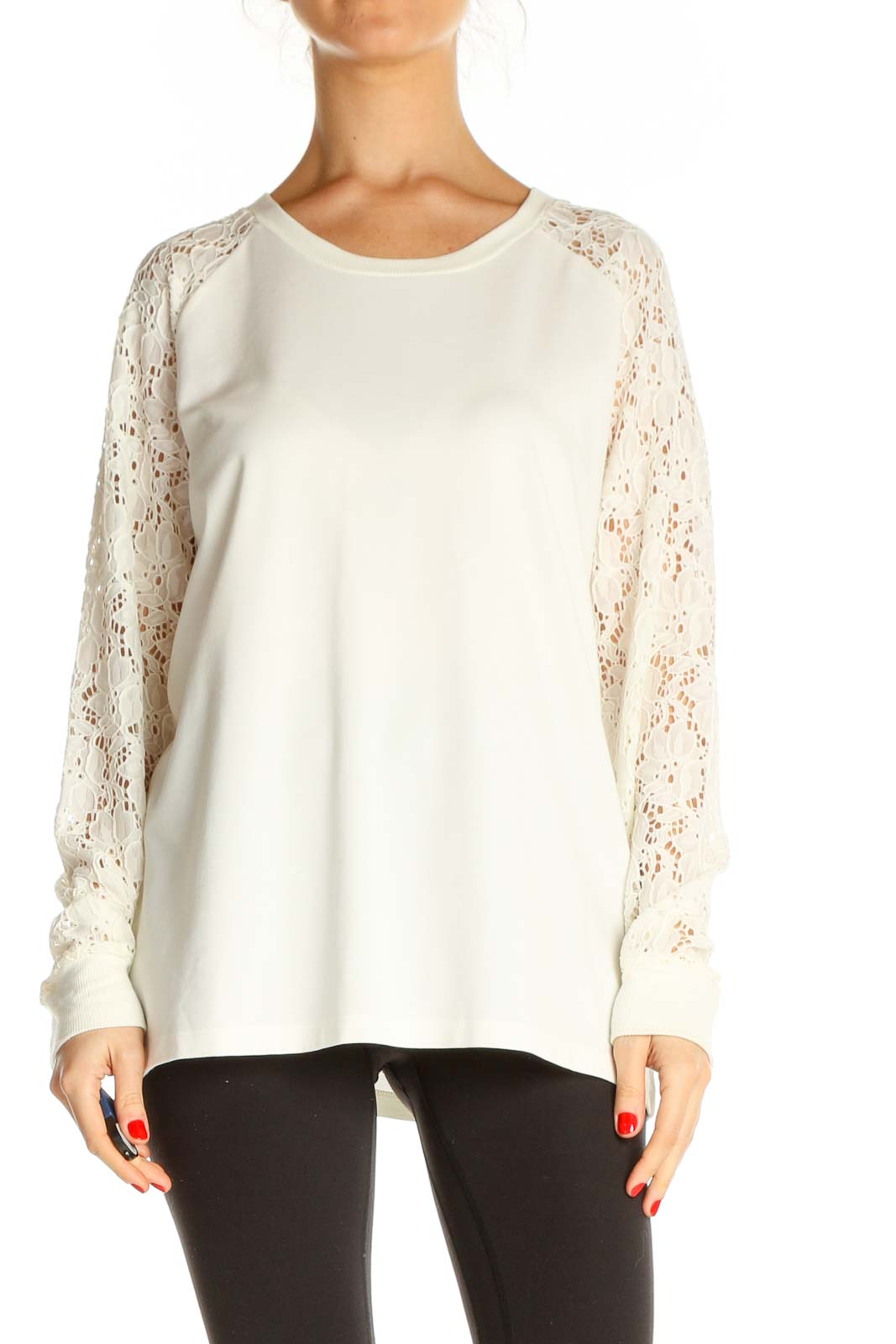 White Lace All Day Wear Sweater Front