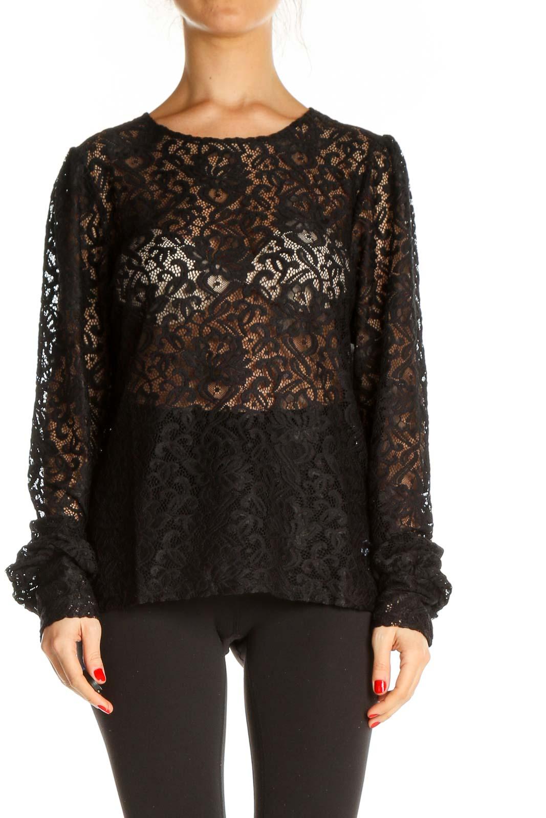 Black Lace Retro Blouse Front